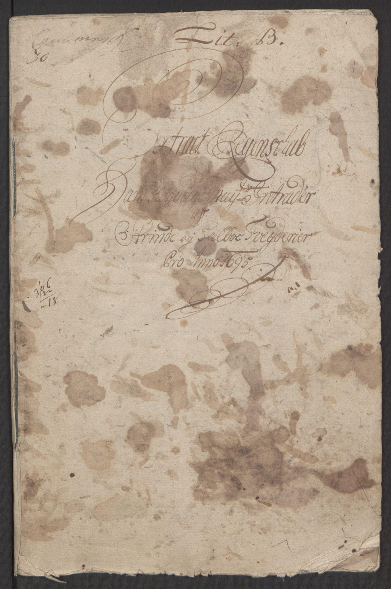 RA, Rentekammeret inntil 1814, Reviderte regnskaper, Fogderegnskap, R61/L4105: Fogderegnskap Strinda og Selbu, 1695, s. 3