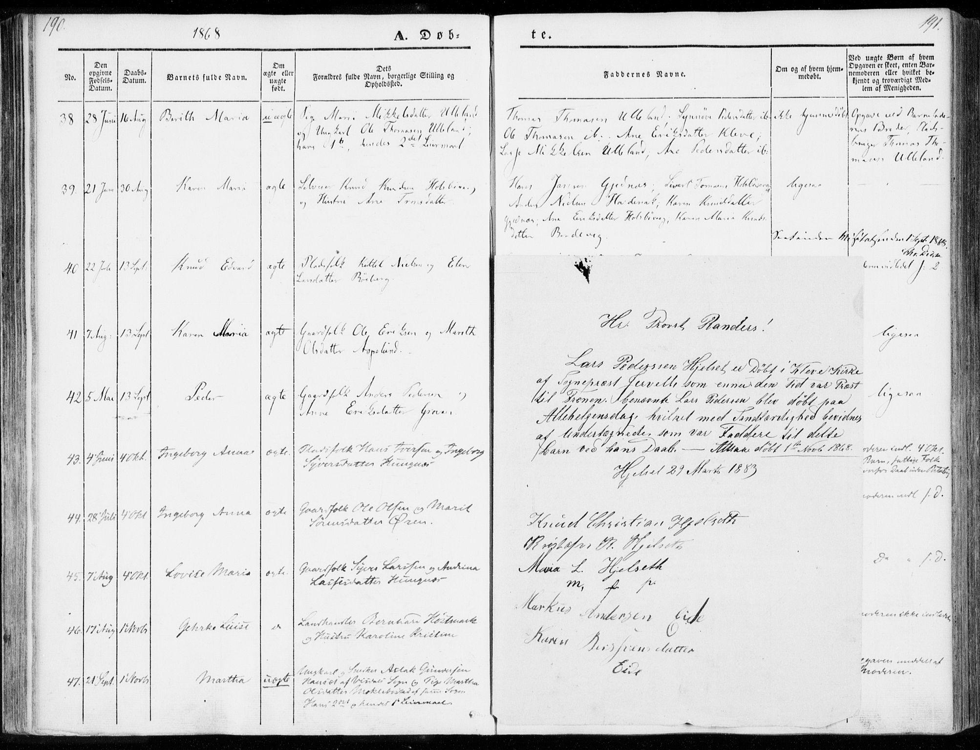 SAT, Ministerialprotokoller, klokkerbøker og fødselsregistre - Møre og Romsdal, 557/L0680: Ministerialbok nr. 557A02, 1843-1869, s. 190-191