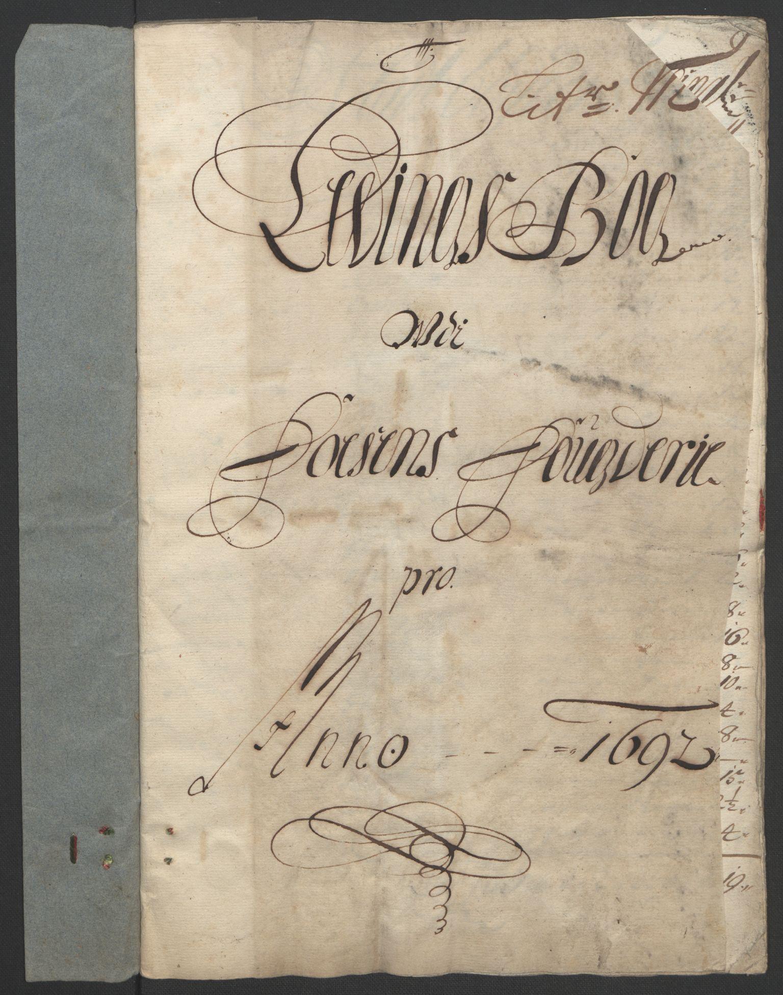 RA, Rentekammeret inntil 1814, Reviderte regnskaper, Fogderegnskap, R57/L3849: Fogderegnskap Fosen, 1692-1693, s. 185