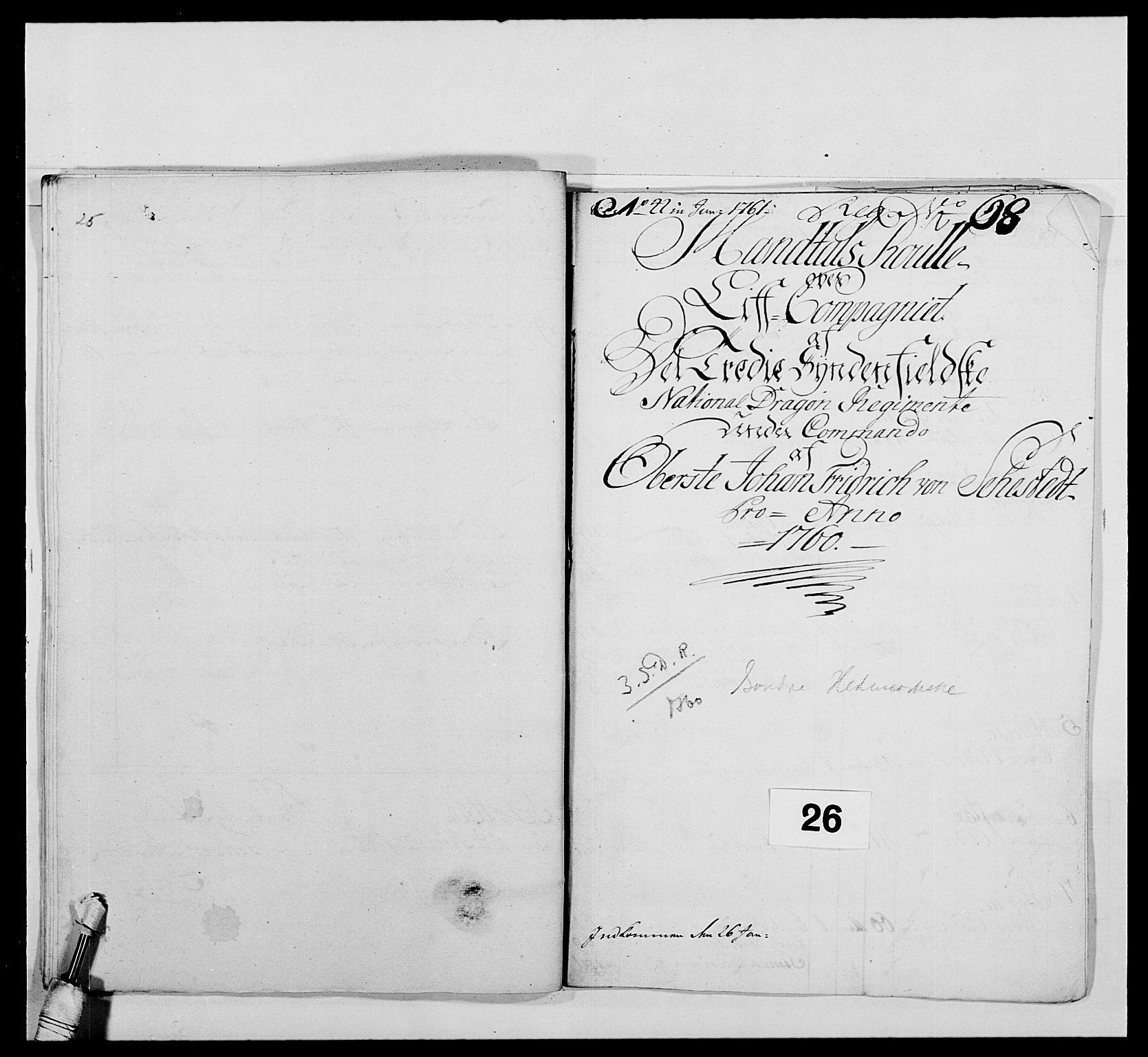 RA, Kommanderende general (KG I) med Det norske krigsdirektorium, E/Ea/L0479: 3. Sønnafjelske dragonregiment, 1756-1760, s. 460