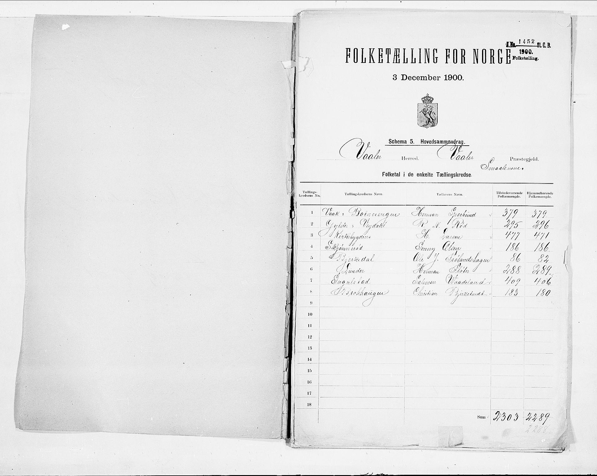 SAO, Folketelling 1900 for 0137 Våler herred, 1900, s. 2