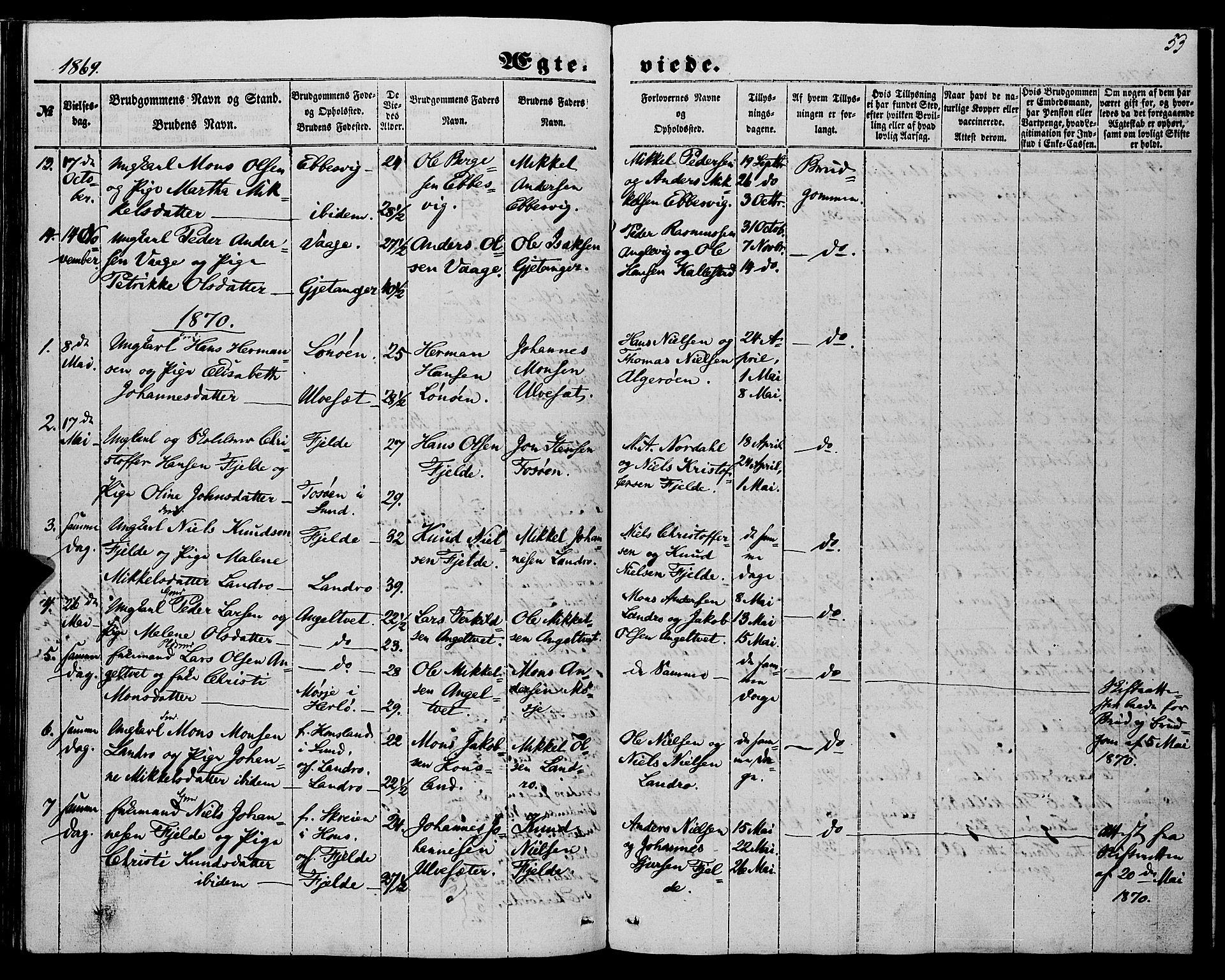 SAB, Fjell Sokneprestembete, H/Haa: Ministerialbok nr. A 6, 1849-1877, s. 53
