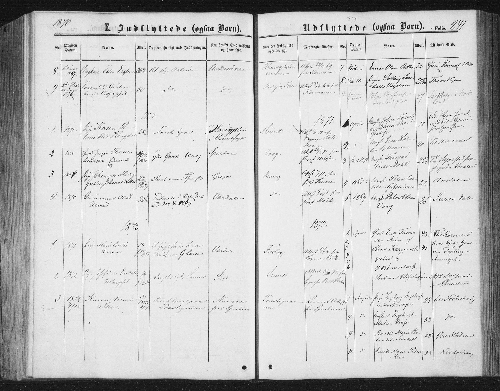 SAT, Ministerialprotokoller, klokkerbøker og fødselsregistre - Nord-Trøndelag, 749/L0472: Ministerialbok nr. 749A06, 1857-1873, s. 241