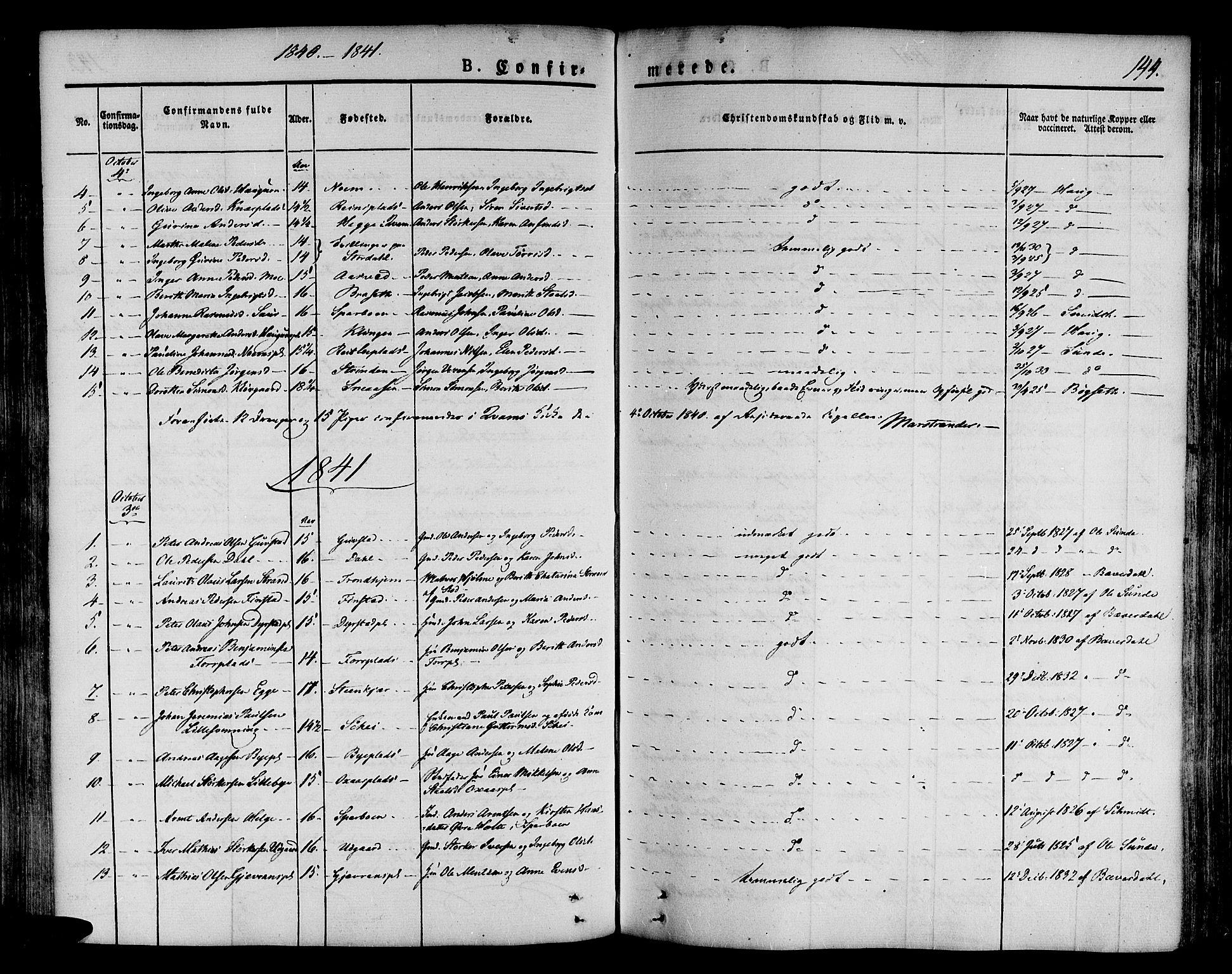 SAT, Ministerialprotokoller, klokkerbøker og fødselsregistre - Nord-Trøndelag, 746/L0445: Ministerialbok nr. 746A04, 1826-1846, s. 144