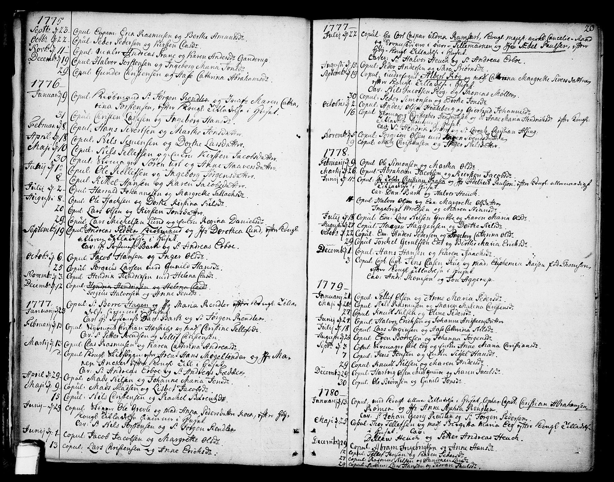 SAKO, Kragerø kirkebøker, F/Fa/L0002: Ministerialbok nr. 2, 1767-1802, s. 20