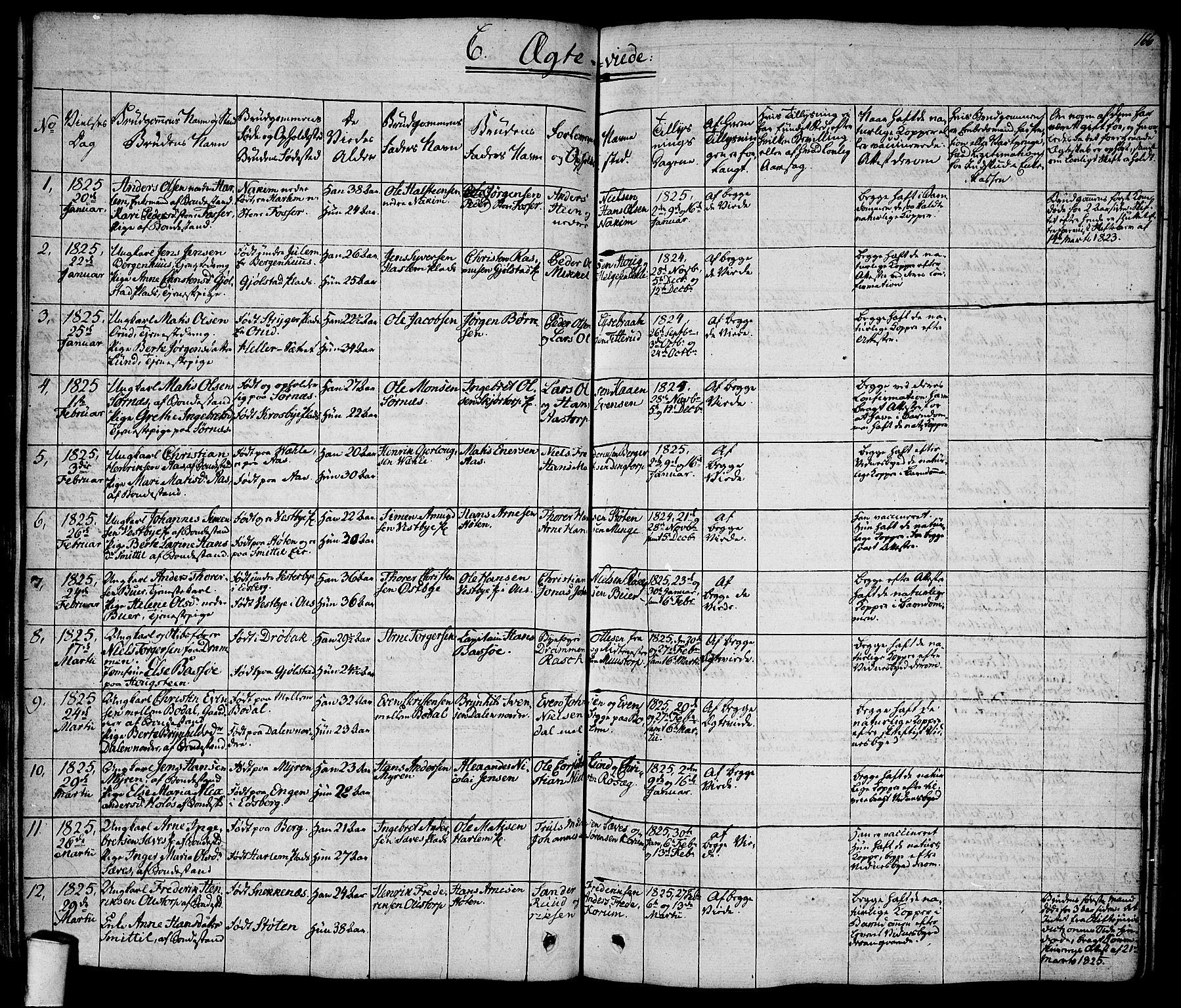 SAO, Rakkestad prestekontor Kirkebøker, F/Fa/L0007: Ministerialbok nr. I 7, 1825-1841, s. 166