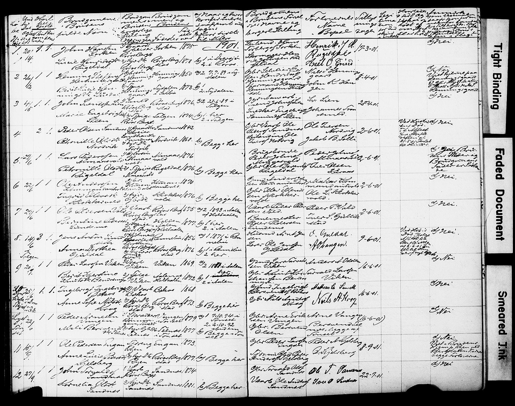 SAT, Ministerialprotokoller, klokkerbøker og fødselsregistre - Sør-Trøndelag, 681/L0934: Lysningsprotokoll nr. 681A12, 1884-1918