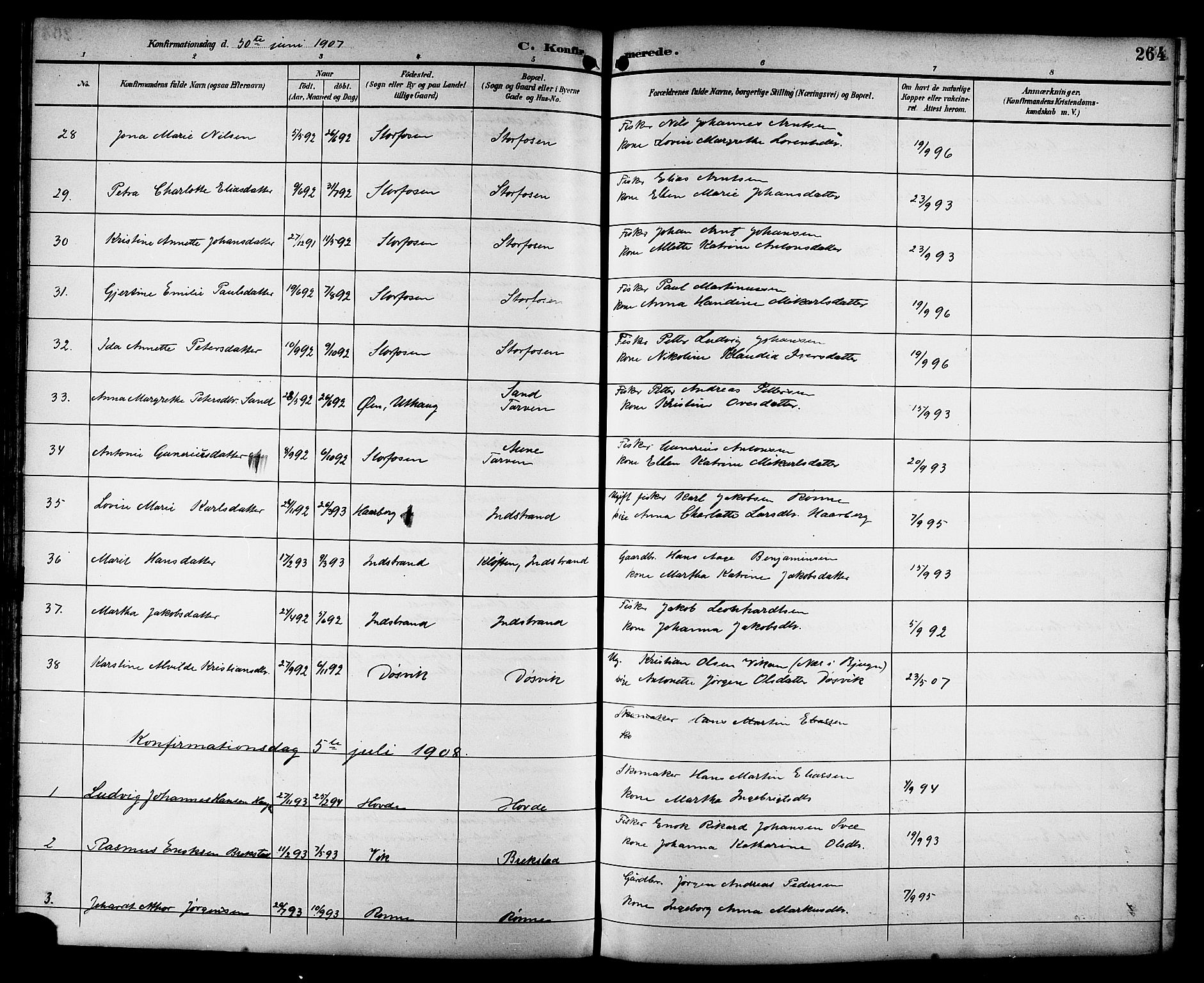 SAT, Ministerialprotokoller, klokkerbøker og fødselsregistre - Sør-Trøndelag, 659/L0746: Klokkerbok nr. 659C03, 1893-1912, s. 264