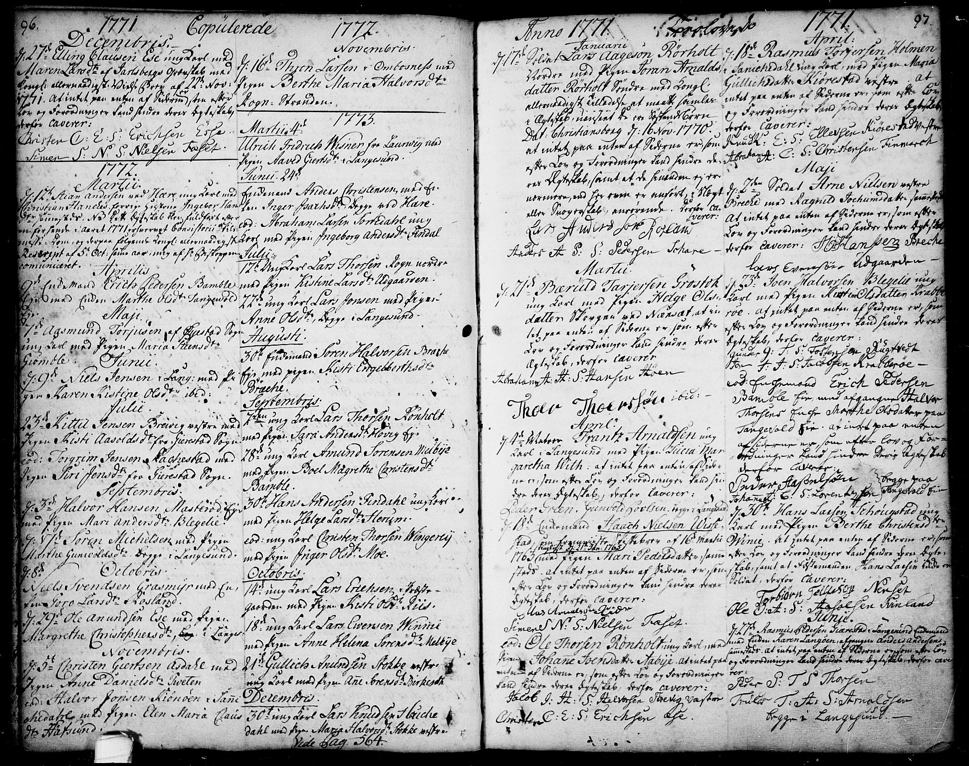 SAKO, Bamble kirkebøker, F/Fa/L0001: Ministerialbok nr. I 1, 1702-1774, s. 96-97