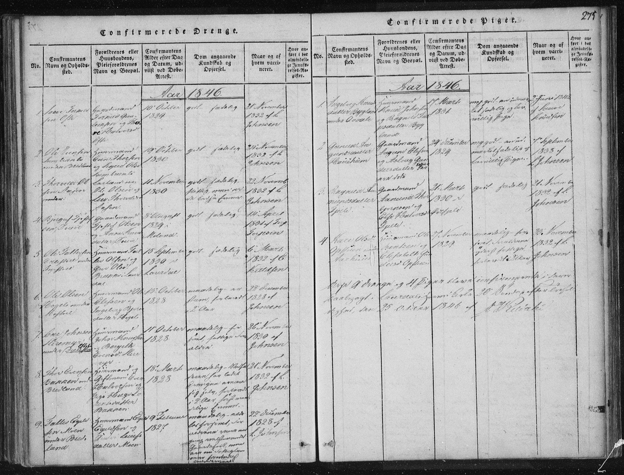 SAKO, Lårdal kirkebøker, F/Fc/L0001: Ministerialbok nr. III 1, 1815-1860, s. 275