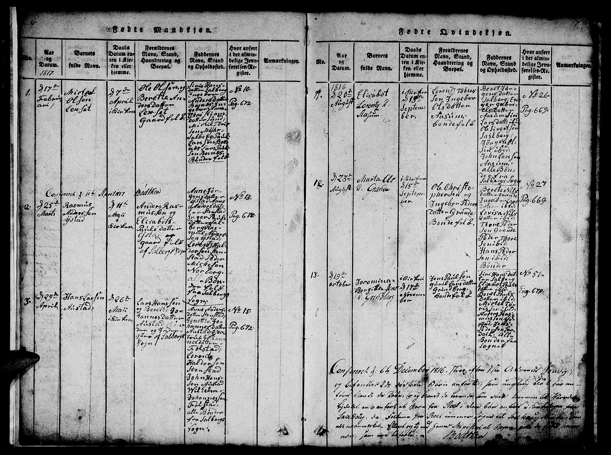 SAT, Ministerialprotokoller, klokkerbøker og fødselsregistre - Nord-Trøndelag, 731/L0310: Klokkerbok nr. 731C01, 1816-1874, s. 6-7