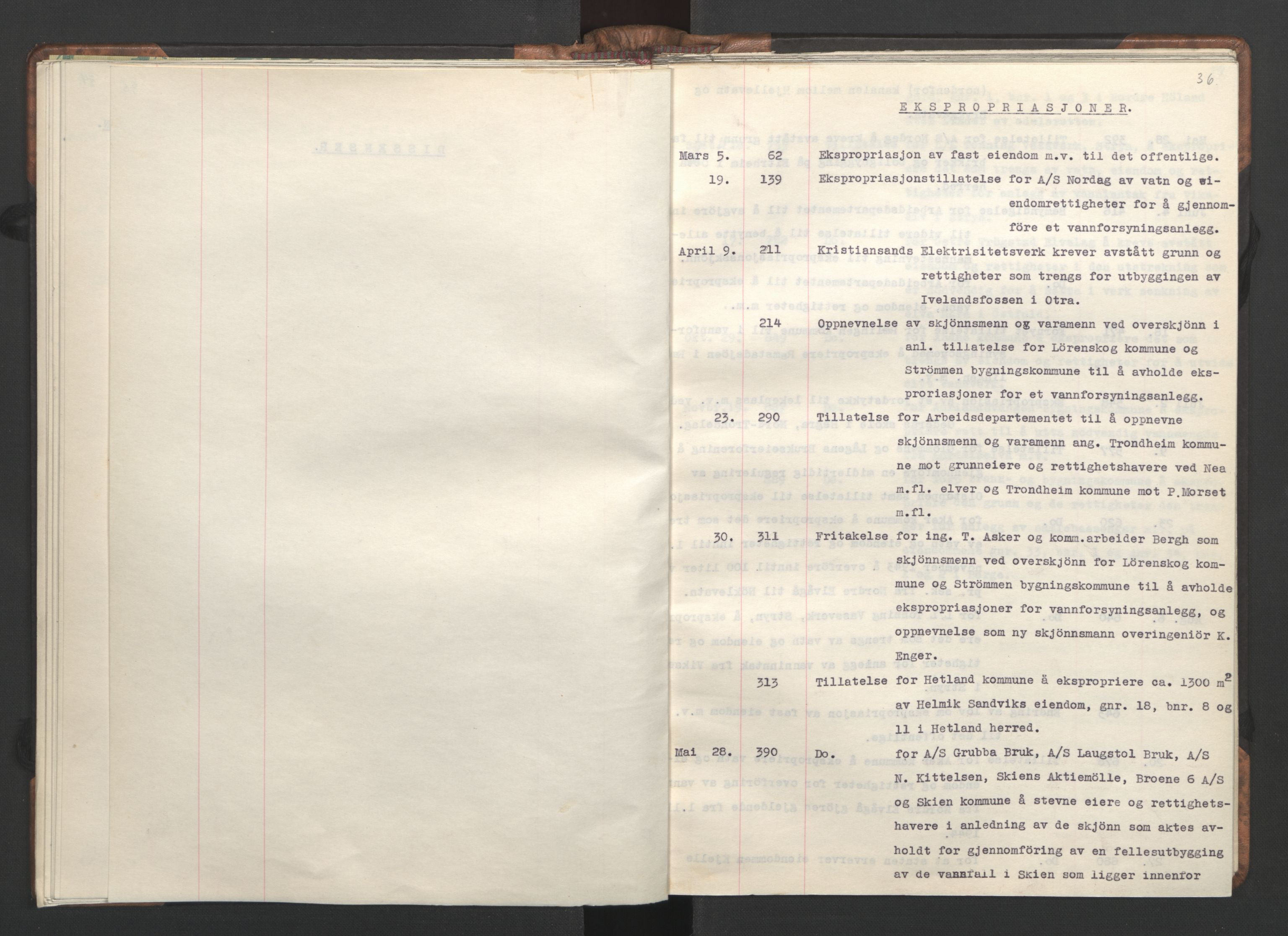 RA, NS-administrasjonen 1940-1945 (Statsrådsekretariatet, de kommisariske statsråder mm), D/Da/L0002: Register (RA j.nr. 985/1943, tilgangsnr. 17/1943), 1942, s. 35b-36a