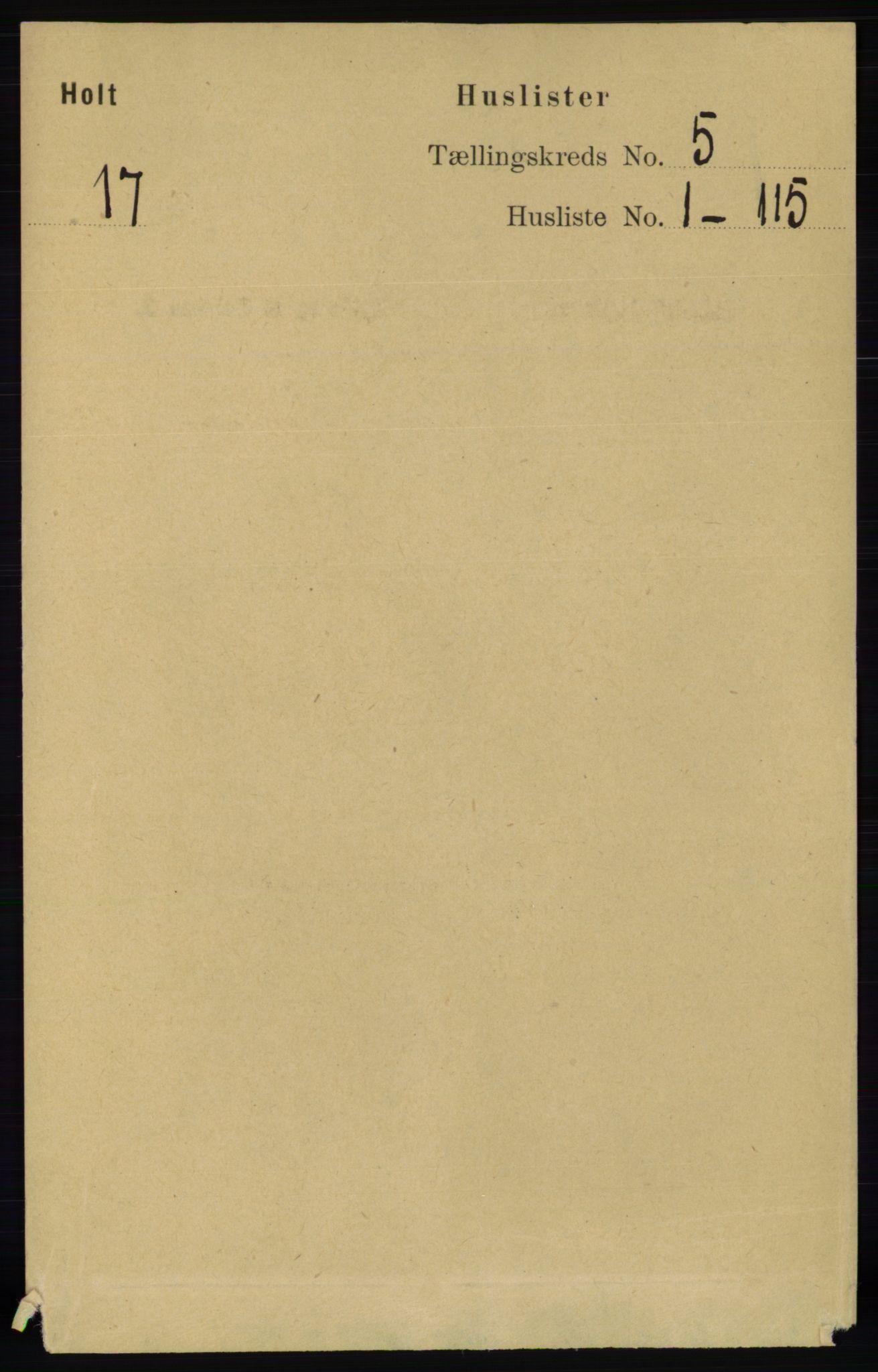 RA, Folketelling 1891 for 0914 Holt herred, 1891, s. 2214