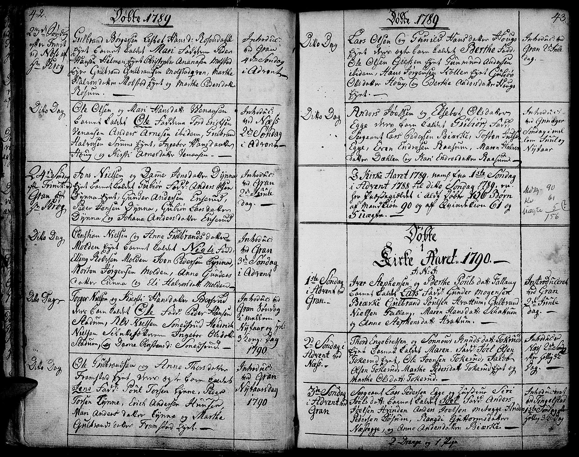 SAH, Gran prestekontor, Ministerialbok nr. 6, 1787-1824, s. 42-43