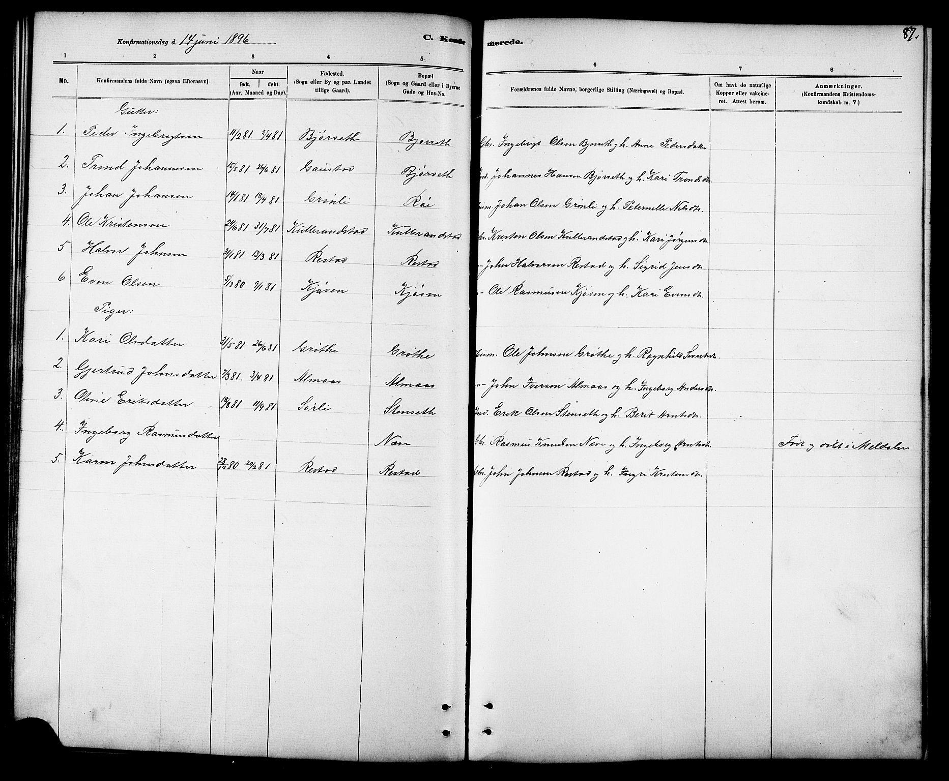 SAT, Ministerialprotokoller, klokkerbøker og fødselsregistre - Sør-Trøndelag, 694/L1132: Klokkerbok nr. 694C04, 1887-1914, s. 87