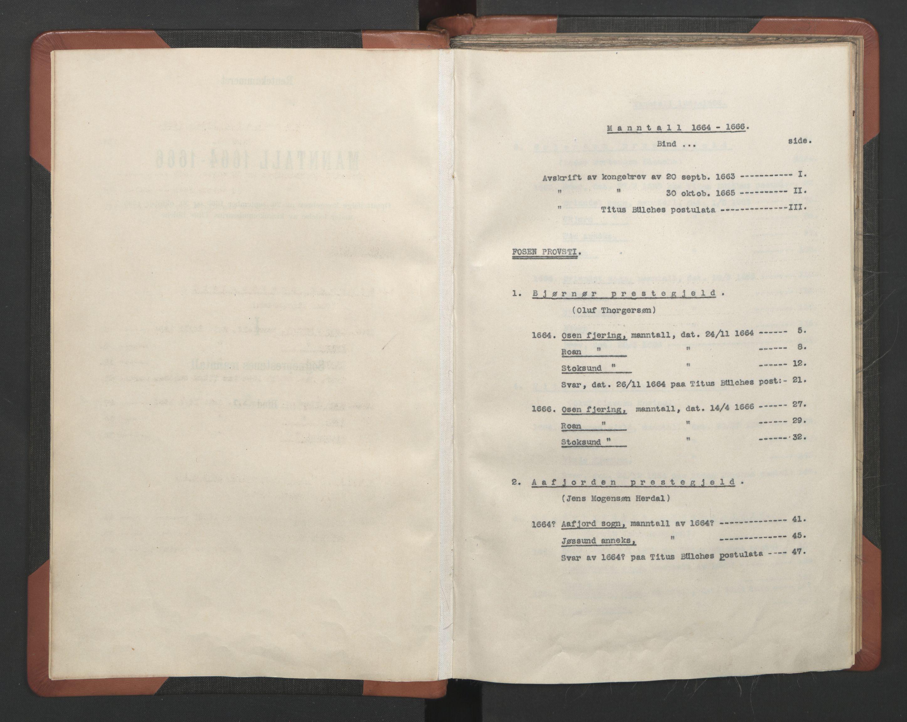 RA, Sogneprestenes manntall 1664-1666, nr. 30: Fosen prosti, 1664-1666, s. upaginert