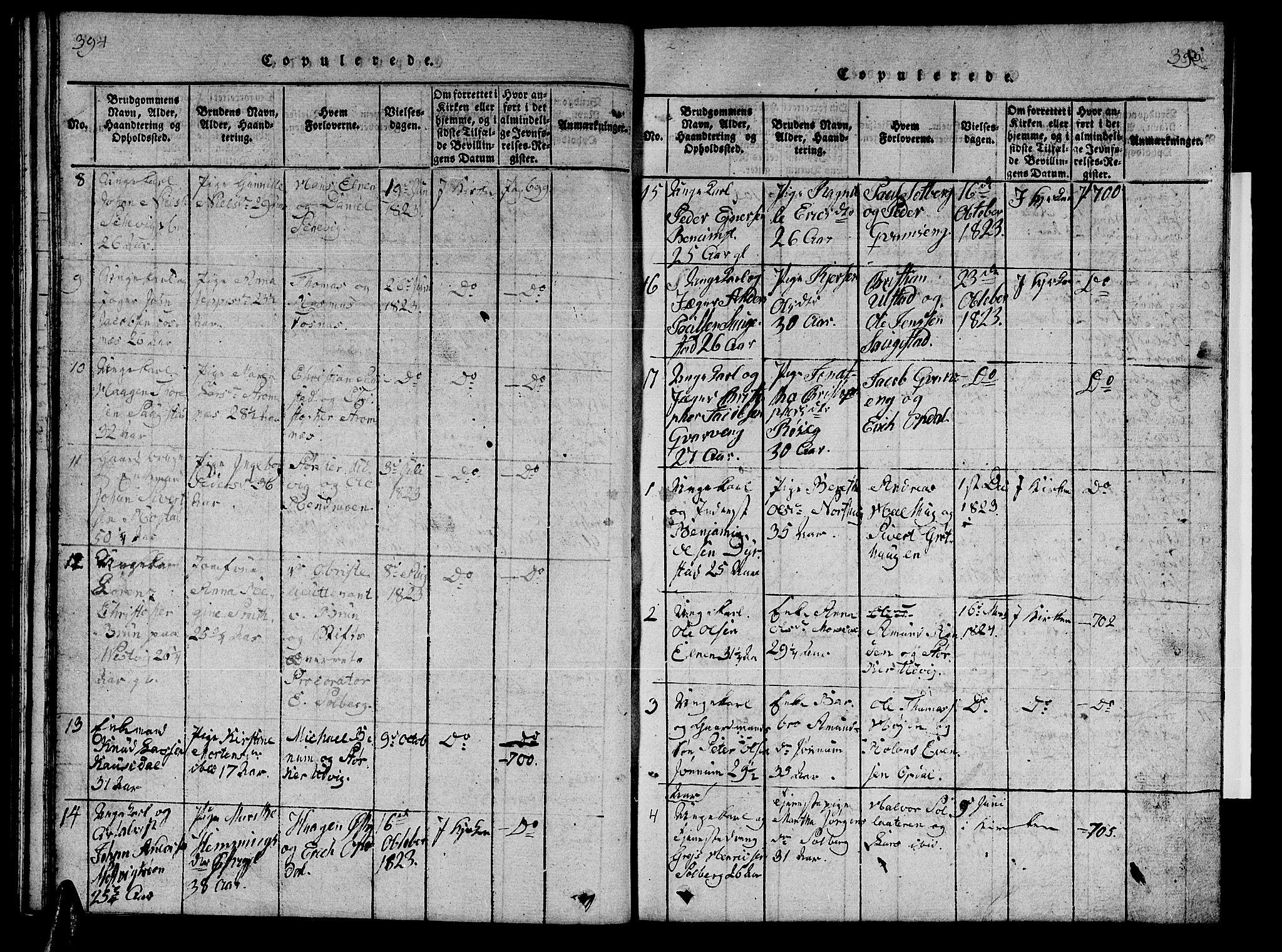 SAT, Ministerialprotokoller, klokkerbøker og fødselsregistre - Nord-Trøndelag, 741/L0400: Klokkerbok nr. 741C01, 1817-1825, s. 394-395