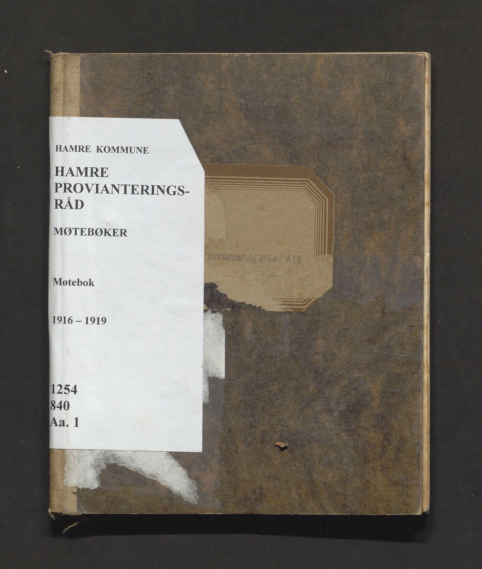 IKAH, Hamre kommune. Provianteringsrådet , A/Aa/L0001: Møtebok for Hamre provianteringsråd , 1916-1919