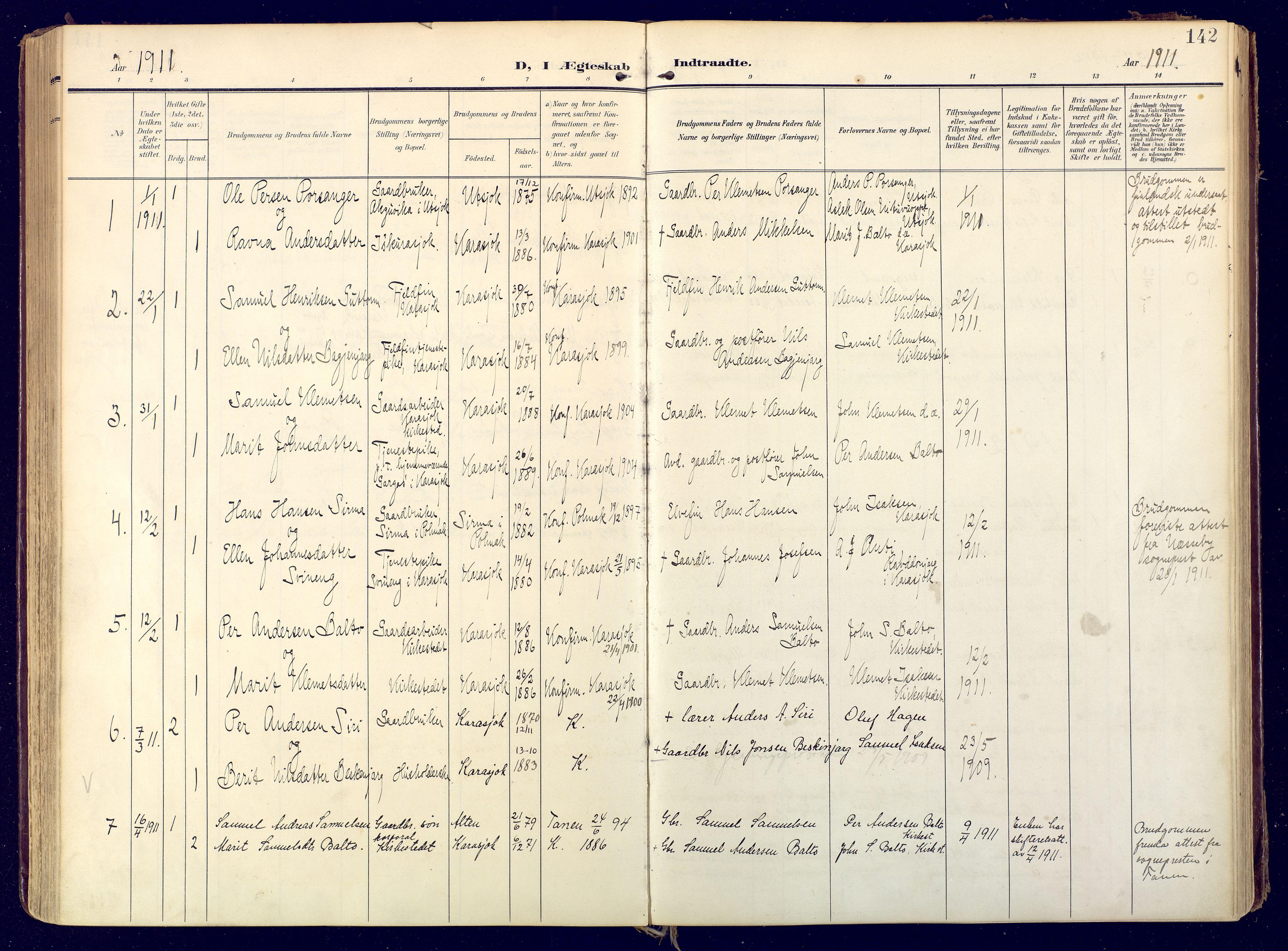 SATØ, Karasjok sokneprestkontor, H/Ha: Ministerialbok nr. 3, 1907-1926, s. 142