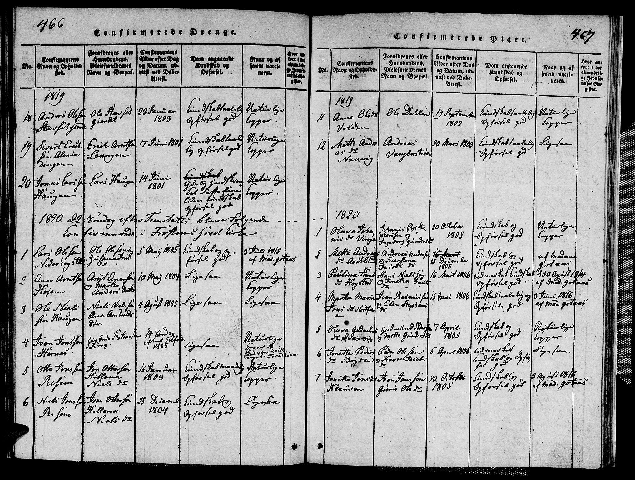 SAT, Ministerialprotokoller, klokkerbøker og fødselsregistre - Nord-Trøndelag, 713/L0124: Klokkerbok nr. 713C01, 1817-1827, s. 466-467