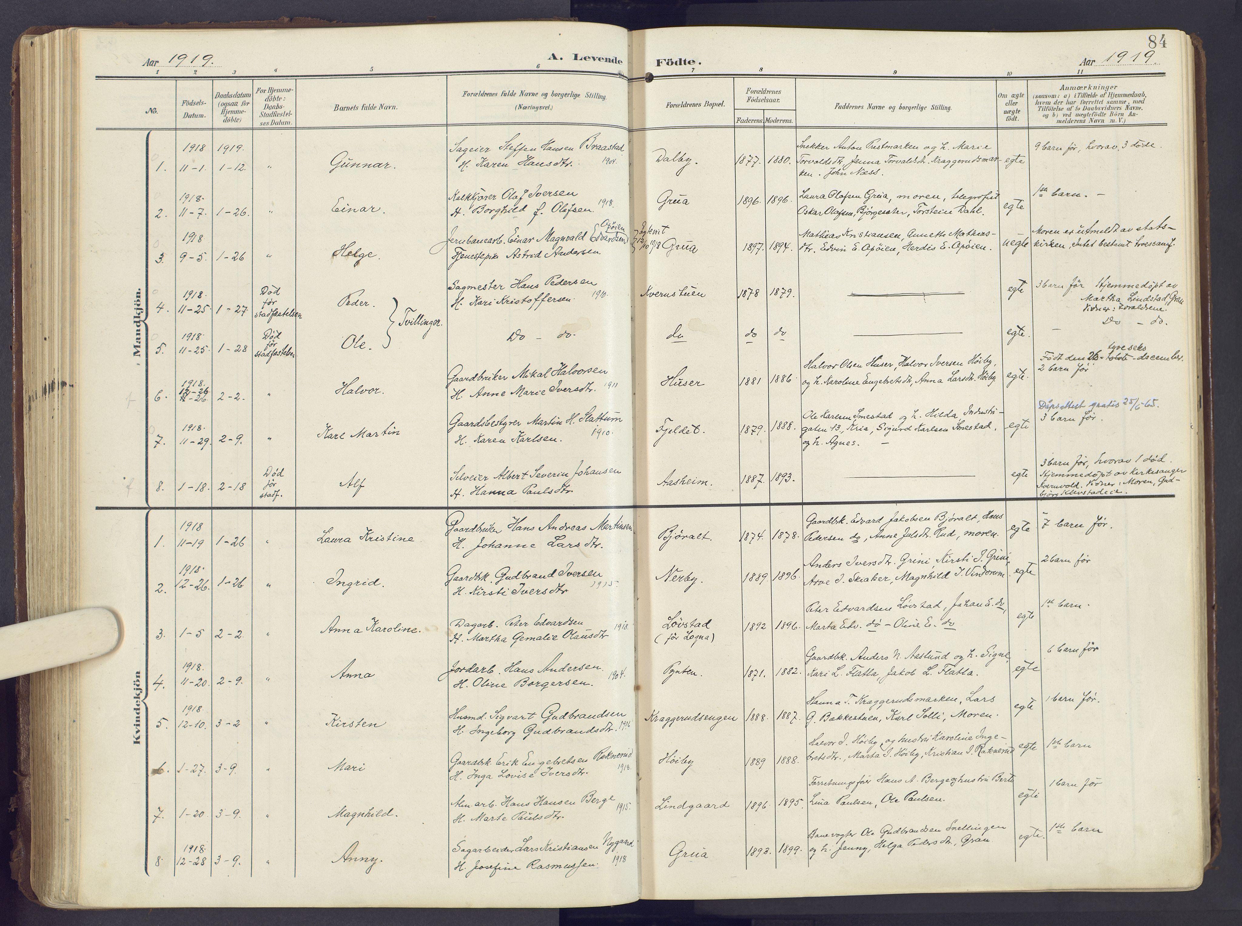 SAH, Lunner prestekontor, H/Ha/Haa/L0001: Ministerialbok nr. 1, 1907-1922, s. 84