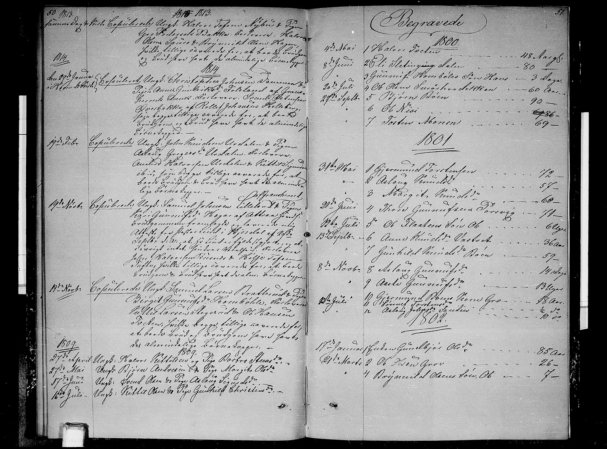 SAKO, Gransherad kirkebøker, F/Fb/L0001: Ministerialbok nr. II 1, 1800-1814, s. 50-51