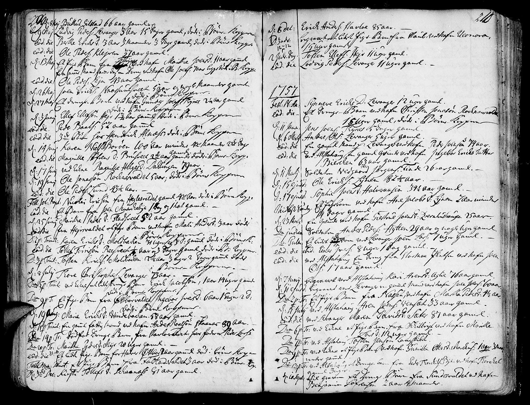 SAT, Ministerialprotokoller, klokkerbøker og fødselsregistre - Nord-Trøndelag, 717/L0141: Ministerialbok nr. 717A01, 1747-1803, s. 209-210
