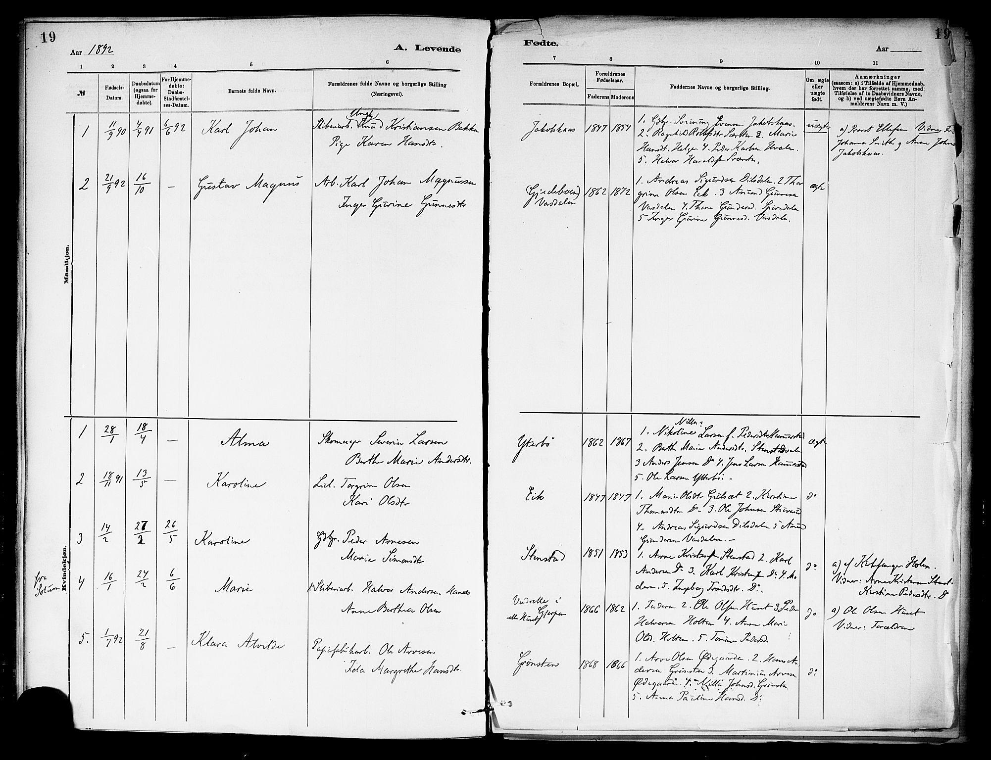 SAKO, Holla kirkebøker, F/Fa/L0009: Ministerialbok nr. 9, 1881-1897, s. 19