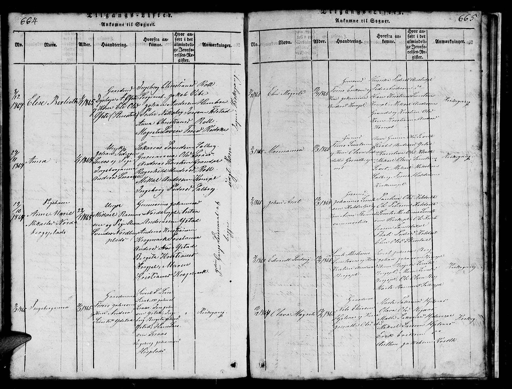 SAT, Ministerialprotokoller, klokkerbøker og fødselsregistre - Nord-Trøndelag, 731/L0310: Klokkerbok nr. 731C01, 1816-1874, s. 664-665