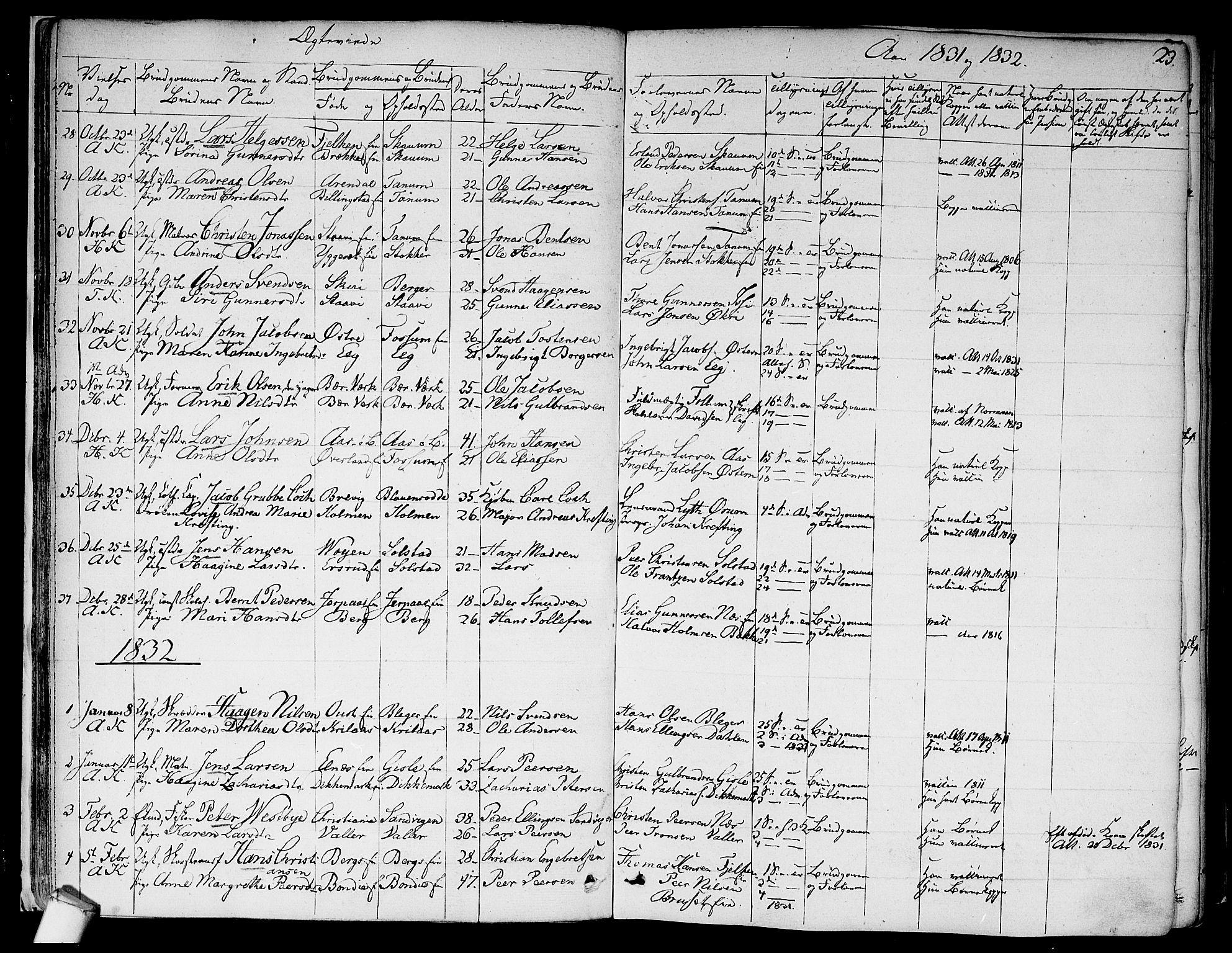 SAO, Asker prestekontor Kirkebøker, F/Fa/L0010: Ministerialbok nr. I 10, 1825-1878, s. 23