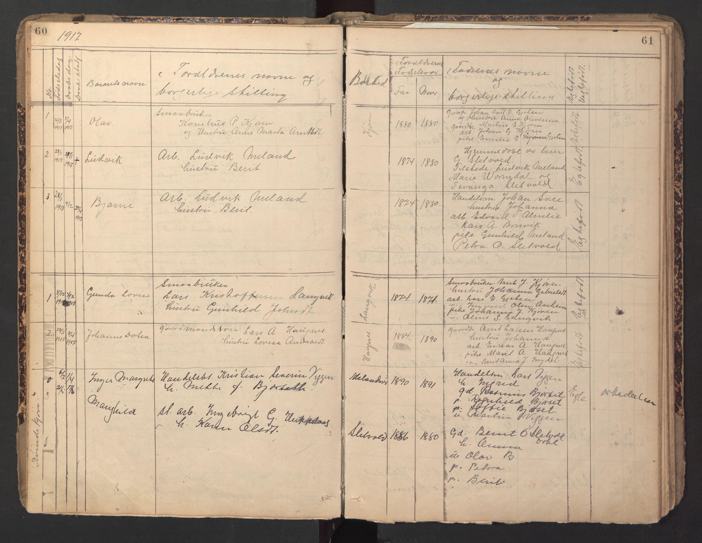 SAT, Ministerialprotokoller, klokkerbøker og fødselsregistre - Sør-Trøndelag, 670/L0837: Klokkerbok nr. 670C01, 1905-1946, s. 60-61