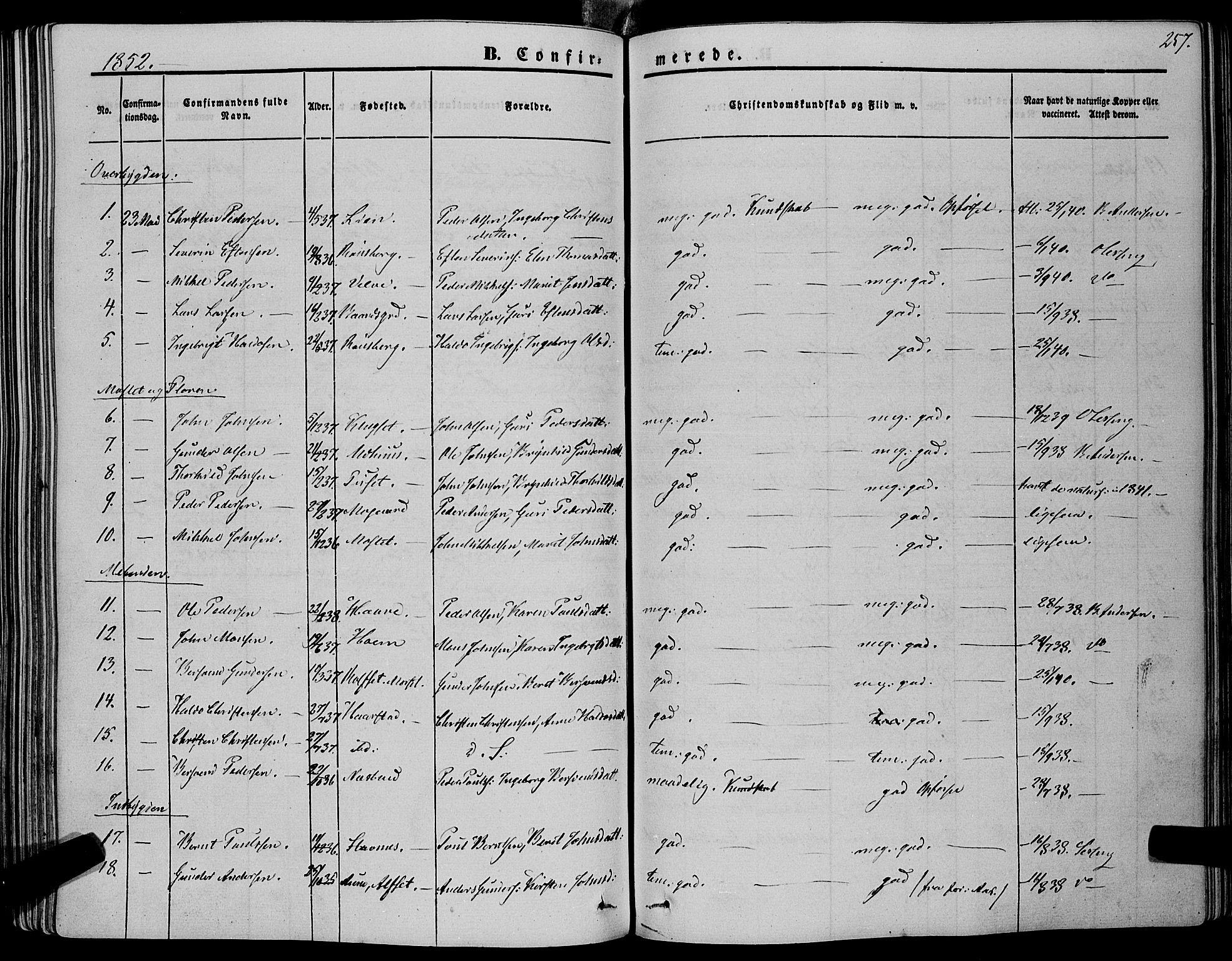 SAT, Ministerialprotokoller, klokkerbøker og fødselsregistre - Sør-Trøndelag, 695/L1145: Ministerialbok nr. 695A06 /1, 1843-1859, s. 257
