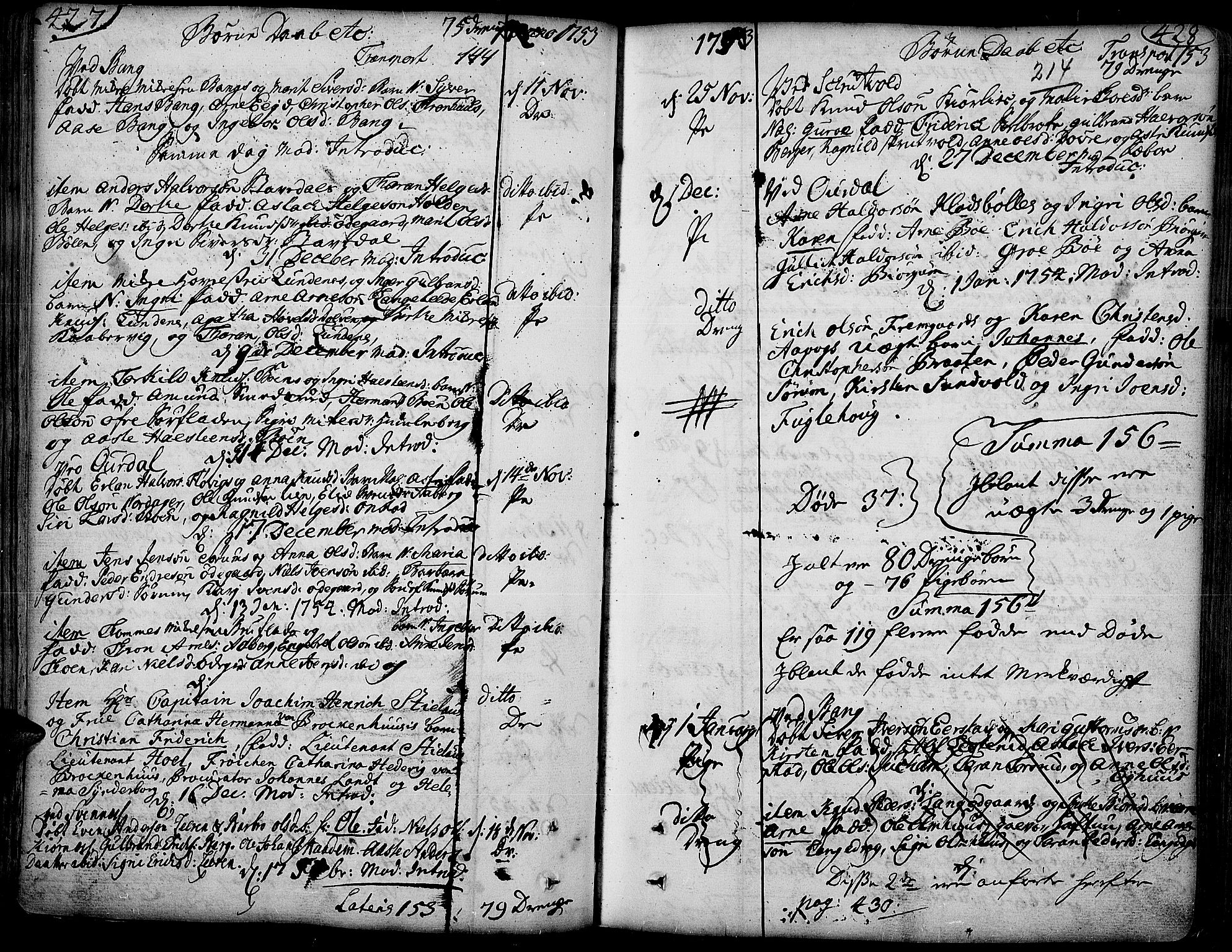 SAH, Aurdal prestekontor, Ministerialbok nr. 4, 1730-1762, s. 427-428