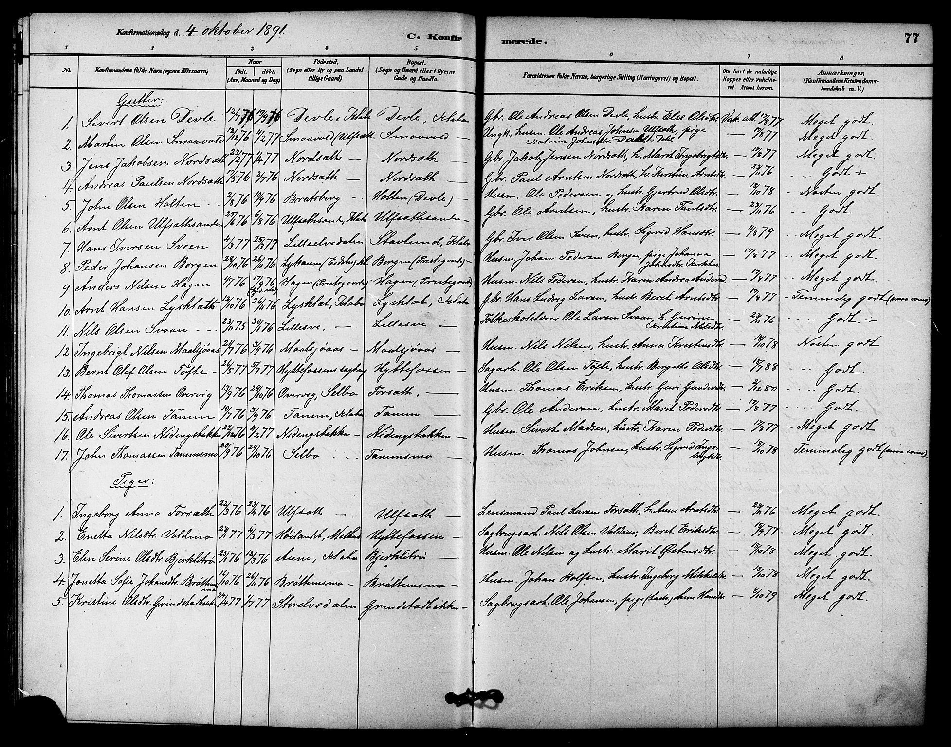 SAT, Ministerialprotokoller, klokkerbøker og fødselsregistre - Sør-Trøndelag, 618/L0444: Ministerialbok nr. 618A07, 1880-1898, s. 77