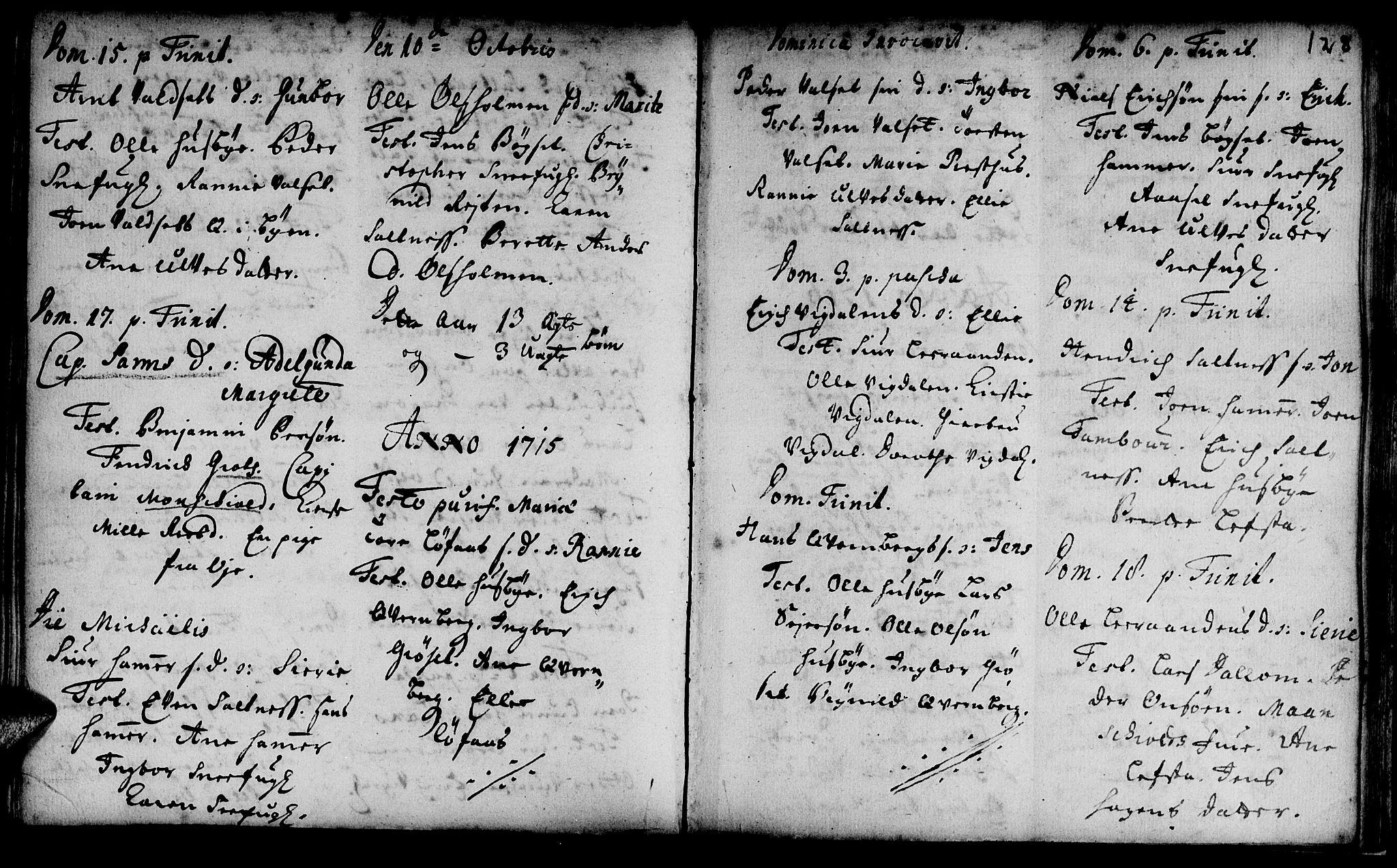 SAT, Ministerialprotokoller, klokkerbøker og fødselsregistre - Sør-Trøndelag, 666/L0783: Ministerialbok nr. 666A01, 1702-1753, s. 128