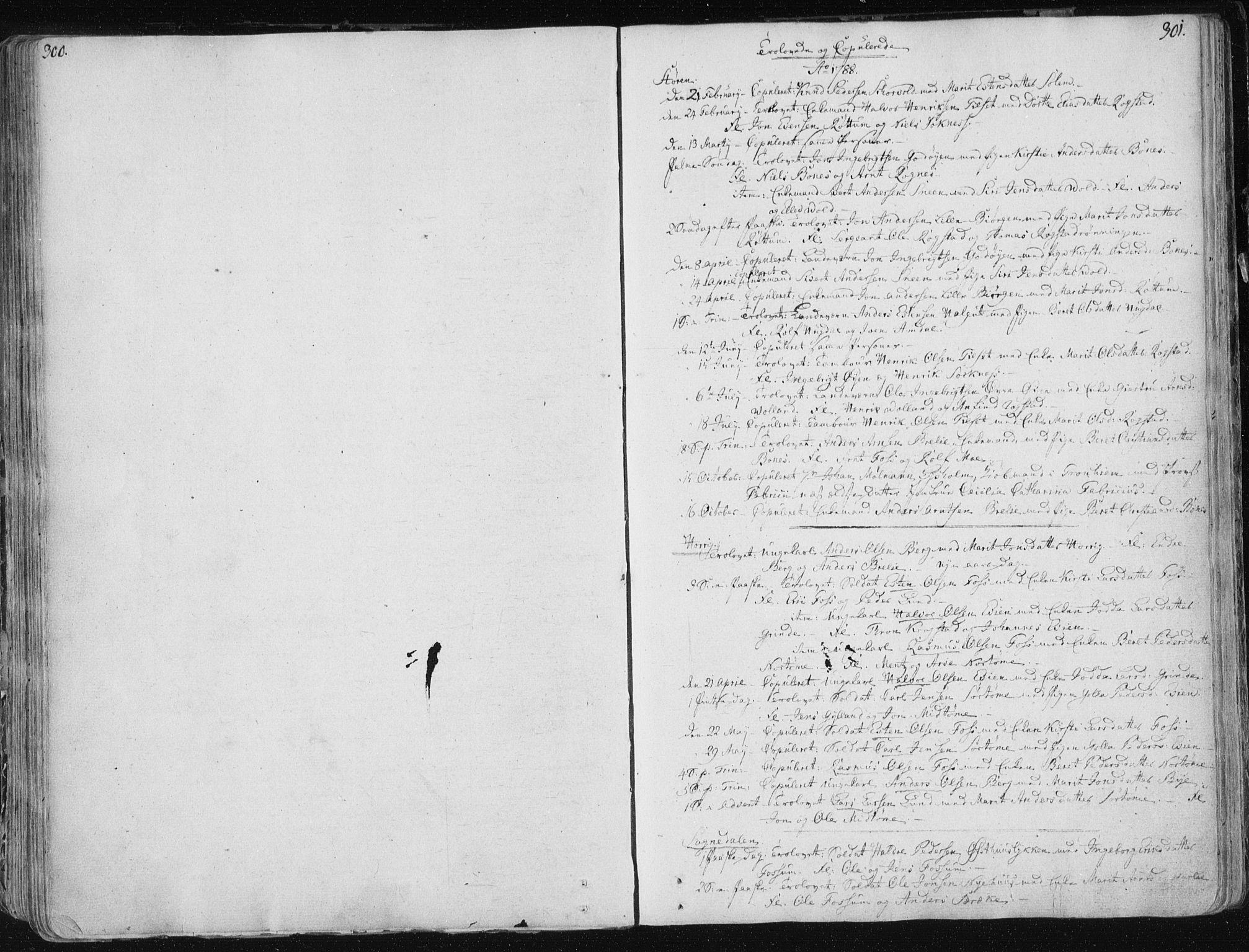 SAT, Ministerialprotokoller, klokkerbøker og fødselsregistre - Sør-Trøndelag, 687/L0992: Ministerialbok nr. 687A03 /1, 1788-1815, s. 300-301