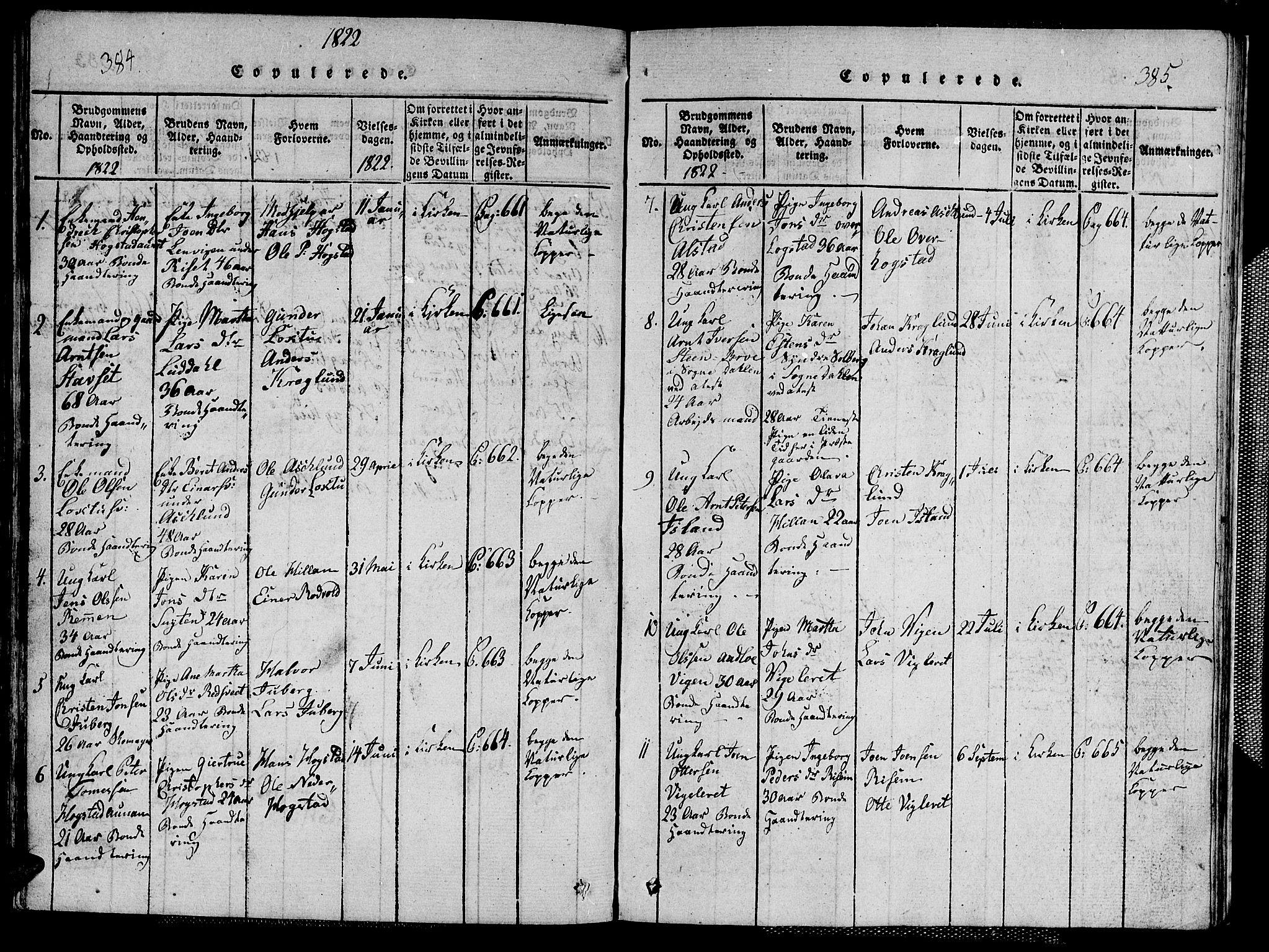 SAT, Ministerialprotokoller, klokkerbøker og fødselsregistre - Nord-Trøndelag, 713/L0124: Klokkerbok nr. 713C01, 1817-1827, s. 384-385