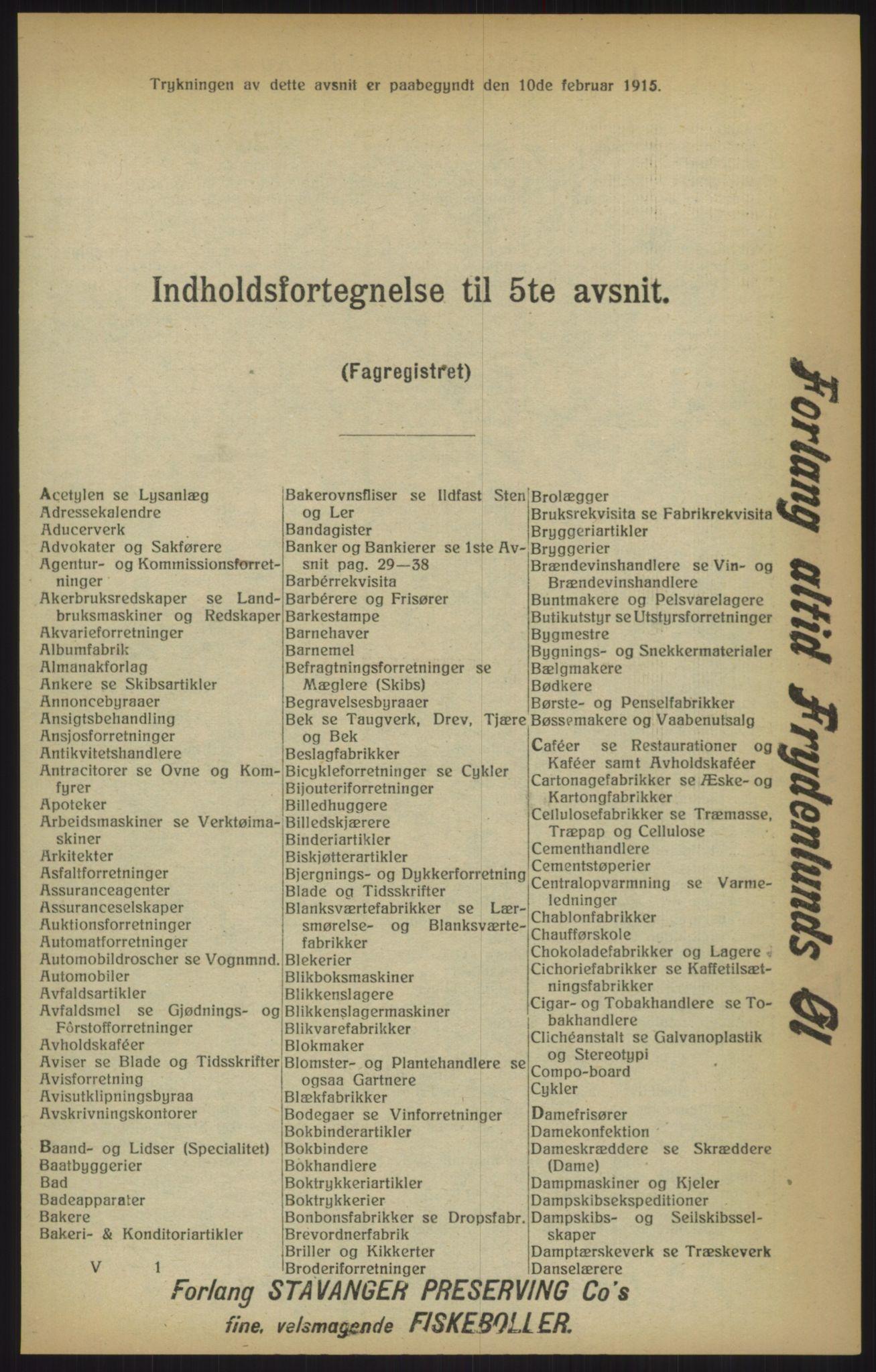 RA, Kristiania adressebok (publikasjon)*, 1915, s. upaginert