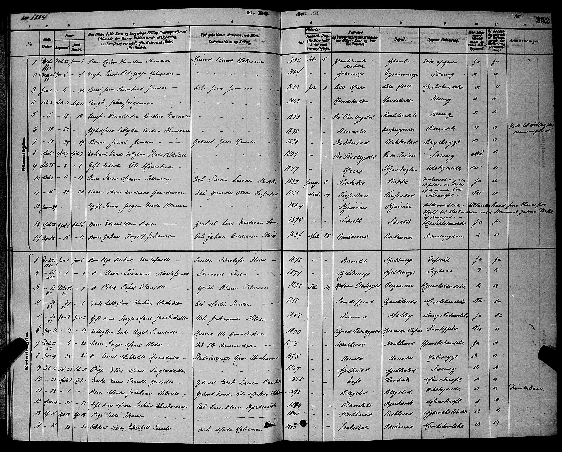 SAKO, Bamble kirkebøker, G/Ga/L0008: Klokkerbok nr. I 8, 1878-1888, s. 352
