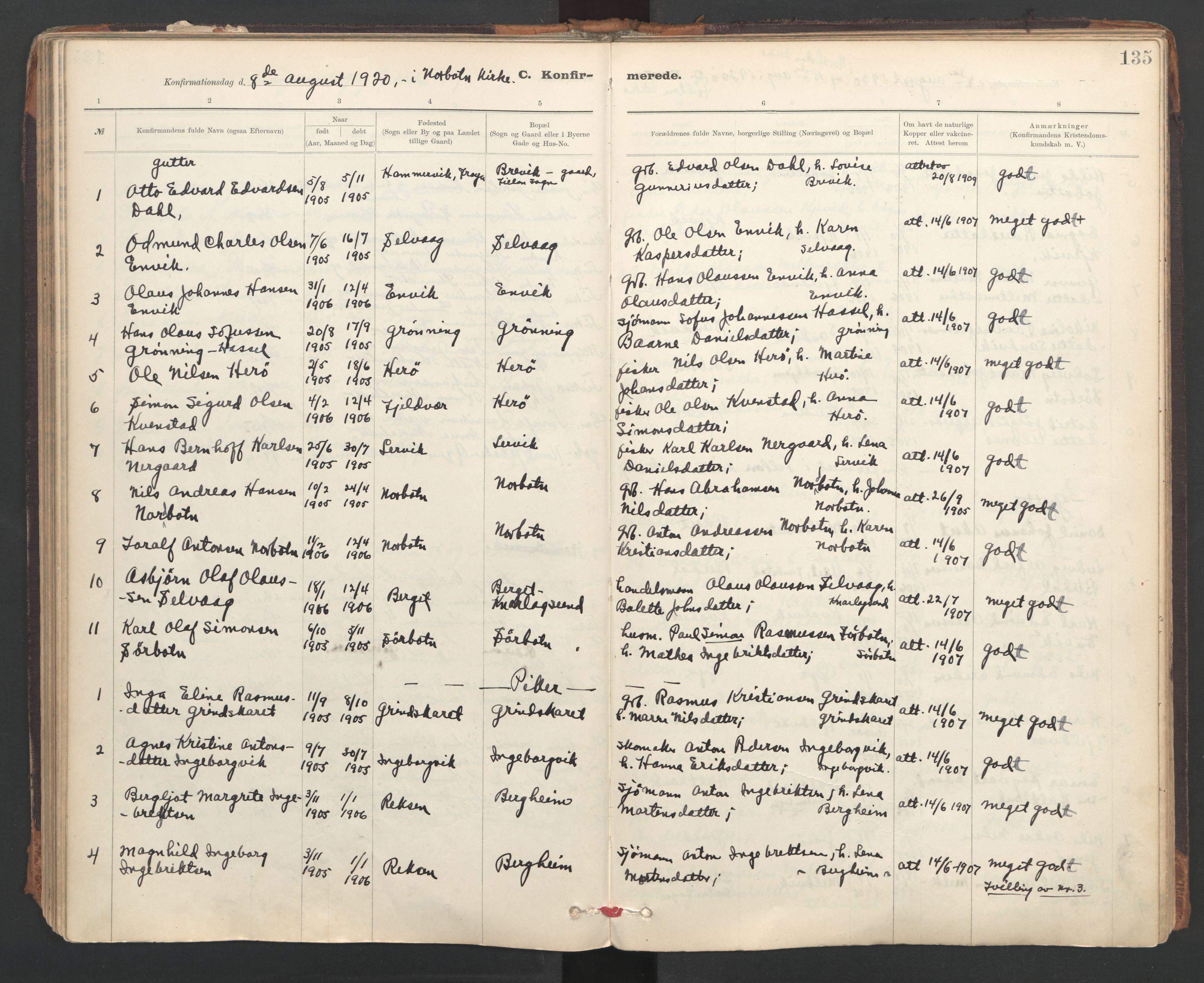 SAT, Ministerialprotokoller, klokkerbøker og fødselsregistre - Sør-Trøndelag, 637/L0559: Ministerialbok nr. 637A02, 1899-1923, s. 135