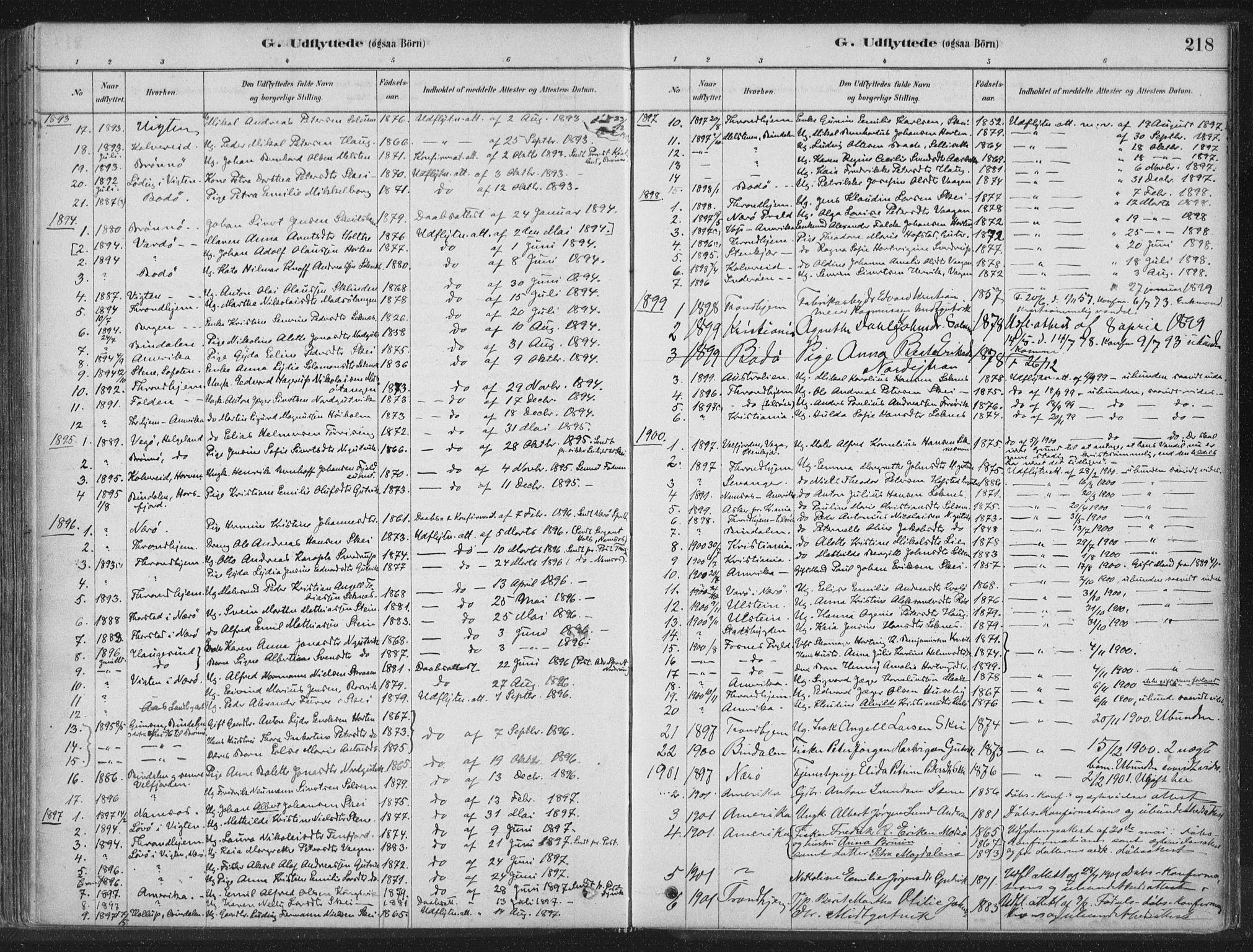 SAT, Ministerialprotokoller, klokkerbøker og fødselsregistre - Nord-Trøndelag, 788/L0697: Ministerialbok nr. 788A04, 1878-1902, s. 218