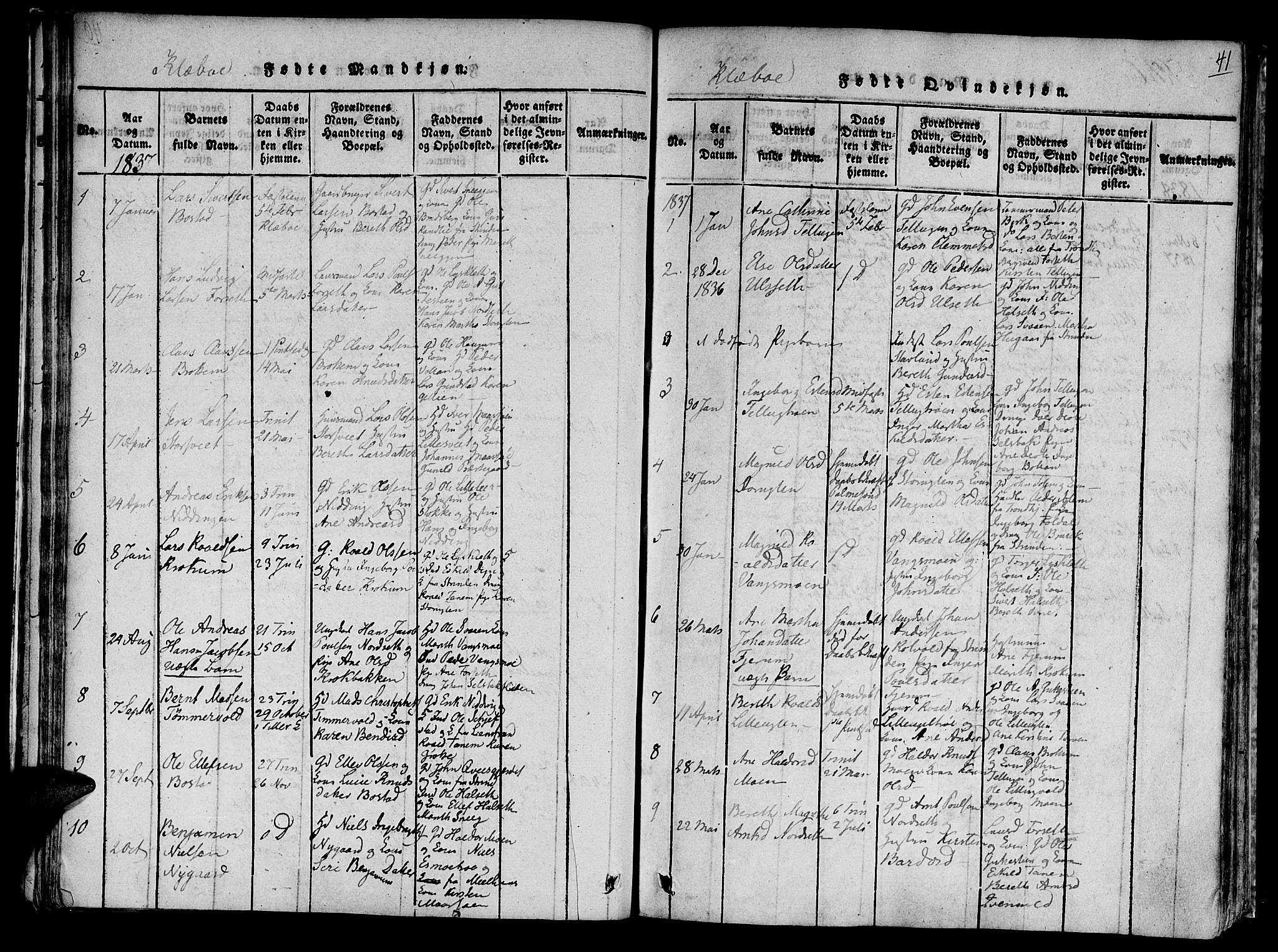 SAT, Ministerialprotokoller, klokkerbøker og fødselsregistre - Sør-Trøndelag, 618/L0439: Ministerialbok nr. 618A04 /1, 1816-1843, s. 41