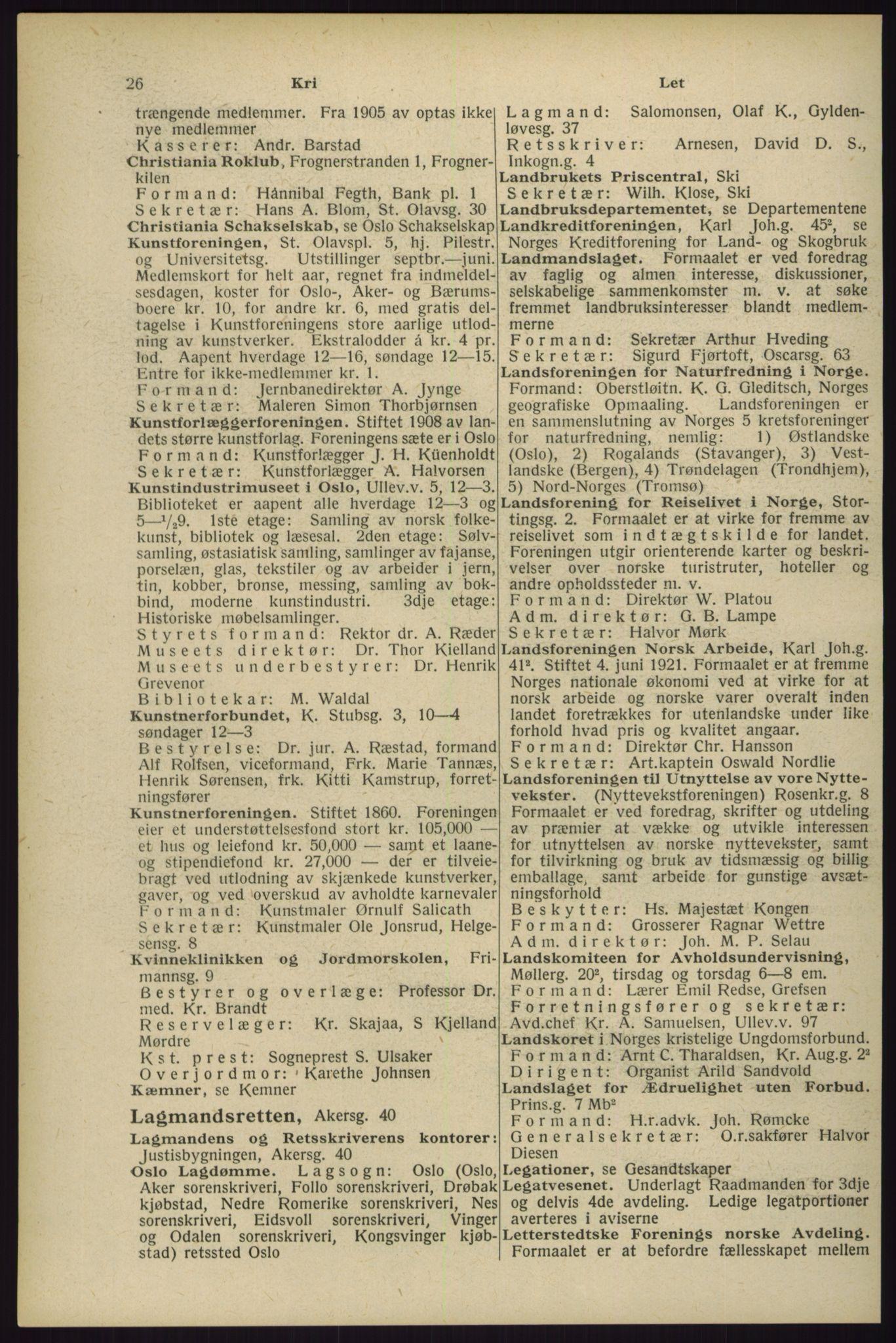 RA, Oslo adressebok (publikasjon)*, 1929, s. 26