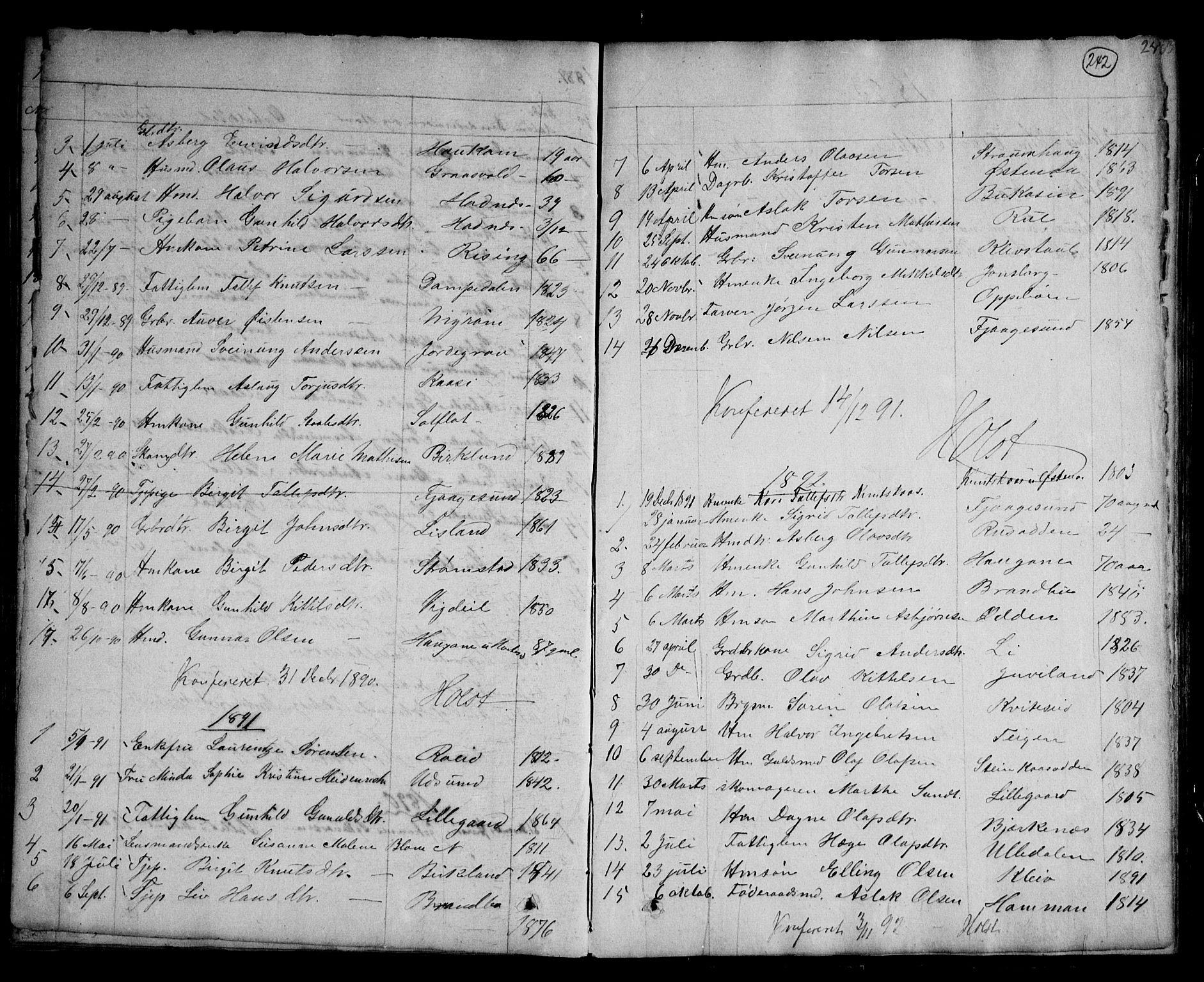SAKO, Kviteseid kirkebøker, G/Ga/L0001: Klokkerbok nr. I 1, 1850-1893, s. 242