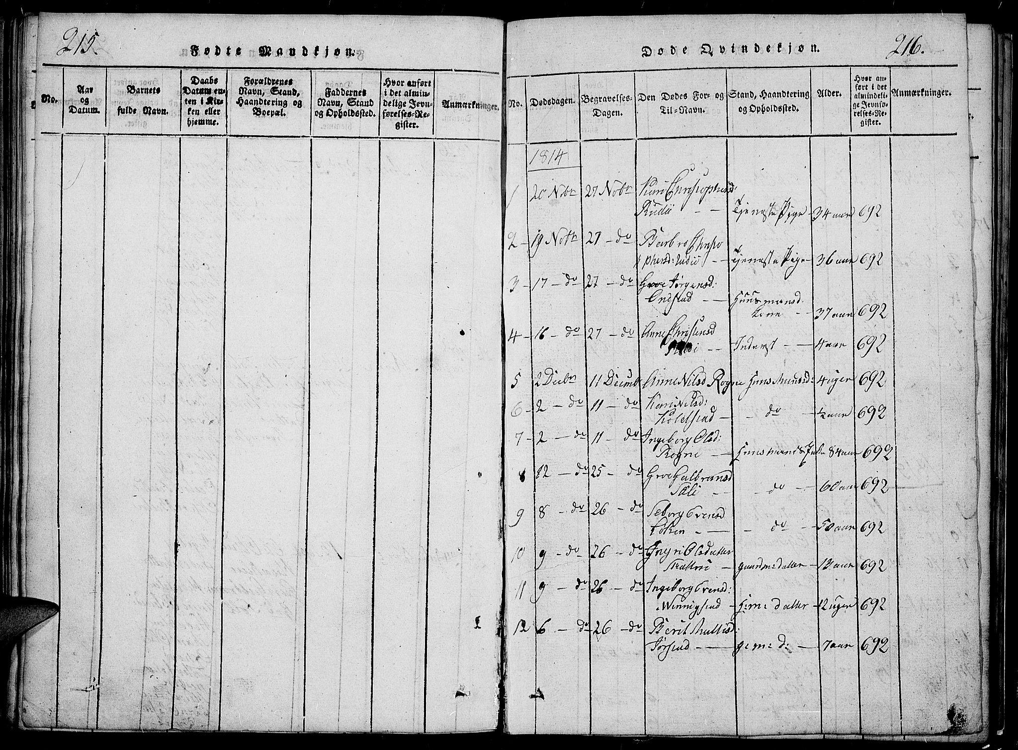 SAH, Slidre prestekontor, Klokkerbok nr. 2, 1814-1839, s. 215-216