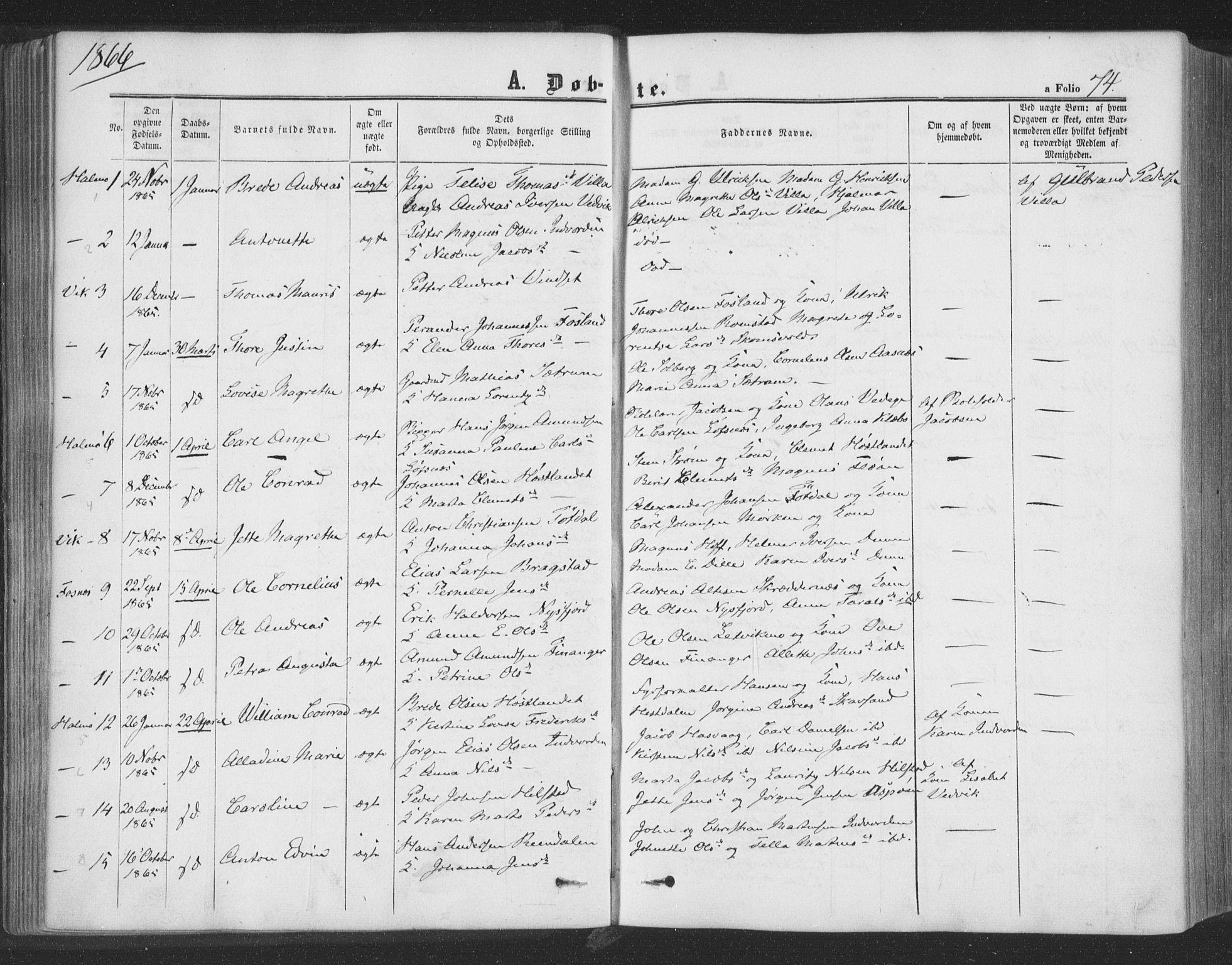 SAT, Ministerialprotokoller, klokkerbøker og fødselsregistre - Nord-Trøndelag, 773/L0615: Ministerialbok nr. 773A06, 1857-1870, s. 74