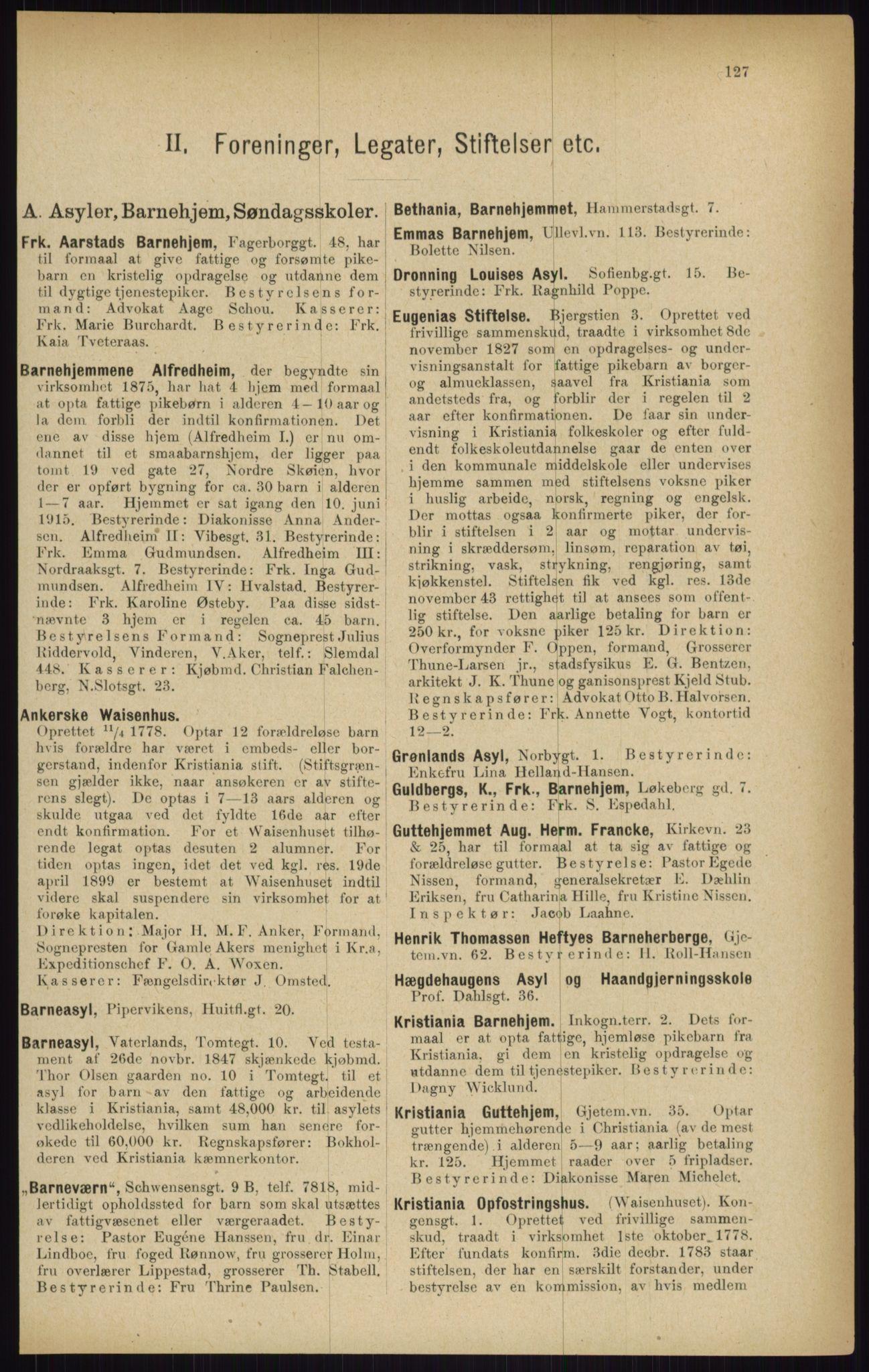 RA, Kristiania adressebok (publikasjon)*, 1916, s. 127