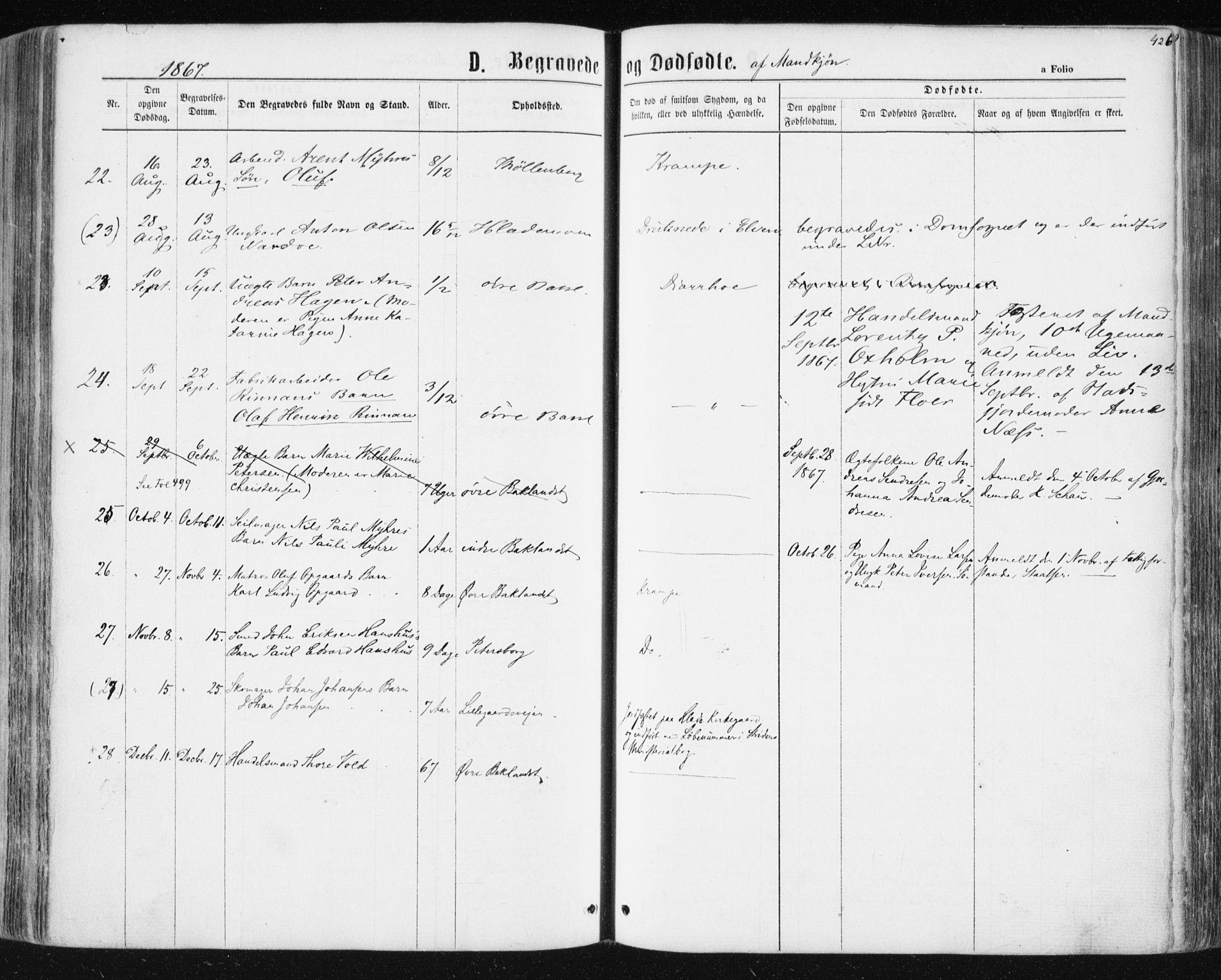 SAT, Ministerialprotokoller, klokkerbøker og fødselsregistre - Sør-Trøndelag, 604/L0186: Ministerialbok nr. 604A07, 1866-1877, s. 426
