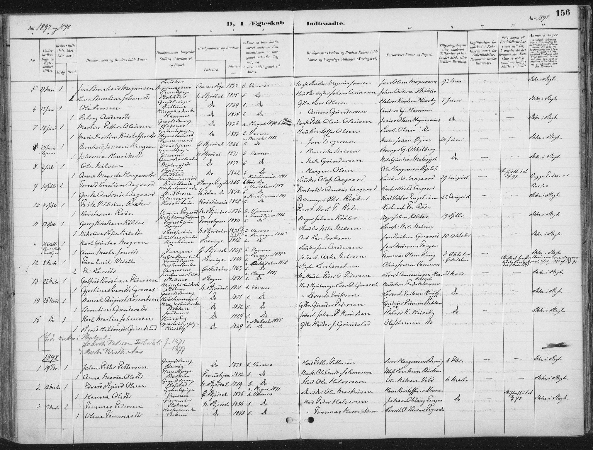 SAT, Ministerialprotokoller, klokkerbøker og fødselsregistre - Nord-Trøndelag, 709/L0082: Ministerialbok nr. 709A22, 1896-1916, s. 156
