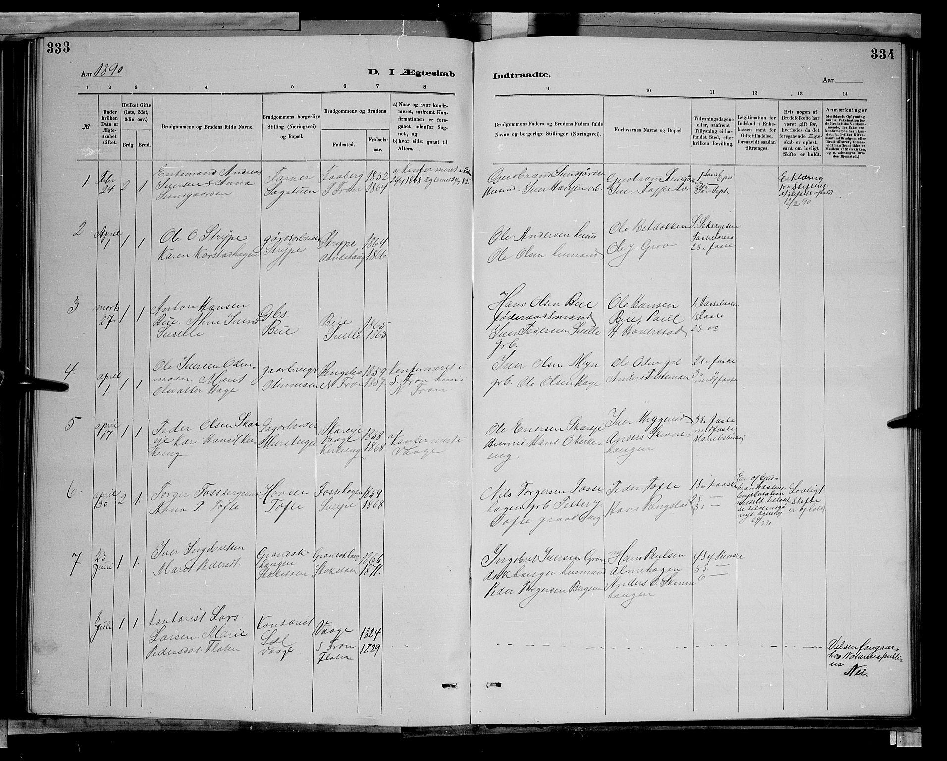 SAH, Sør-Fron prestekontor, H/Ha/Hab/L0003: Klokkerbok nr. 3, 1884-1896, s. 333-334